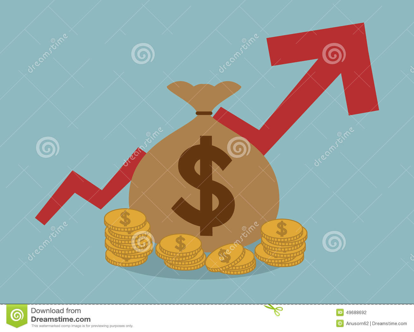 Borsa dei soldi con il grafico sul concetto positivo di affari