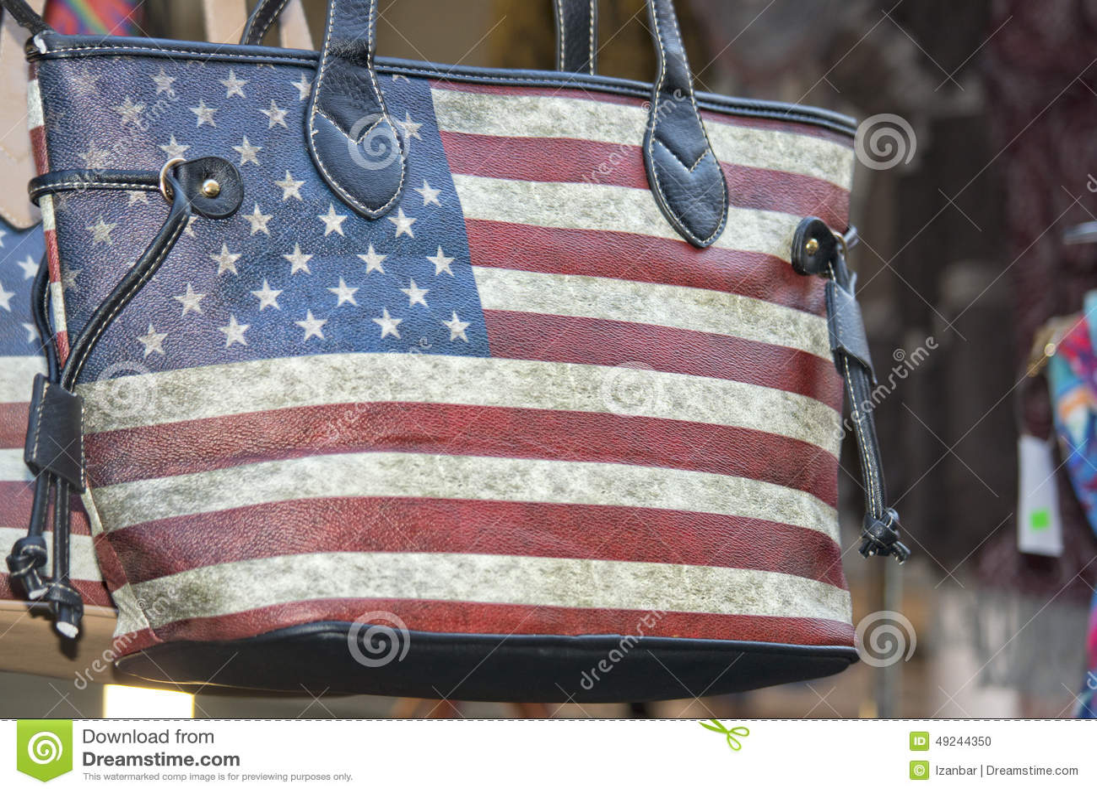 Borsa Della Donna Della Bandiera Americana Fotografia Stock ...