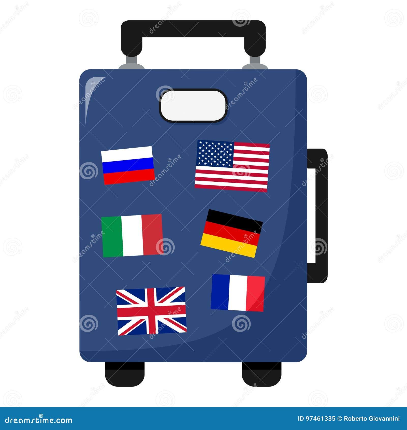 41b696ef615beb Icona piana della borsa blu della valigia con le bandiere variopinte,  isolate su fondo bianco Archivio di ENV disponibile. Più illustrazioni stock  simili