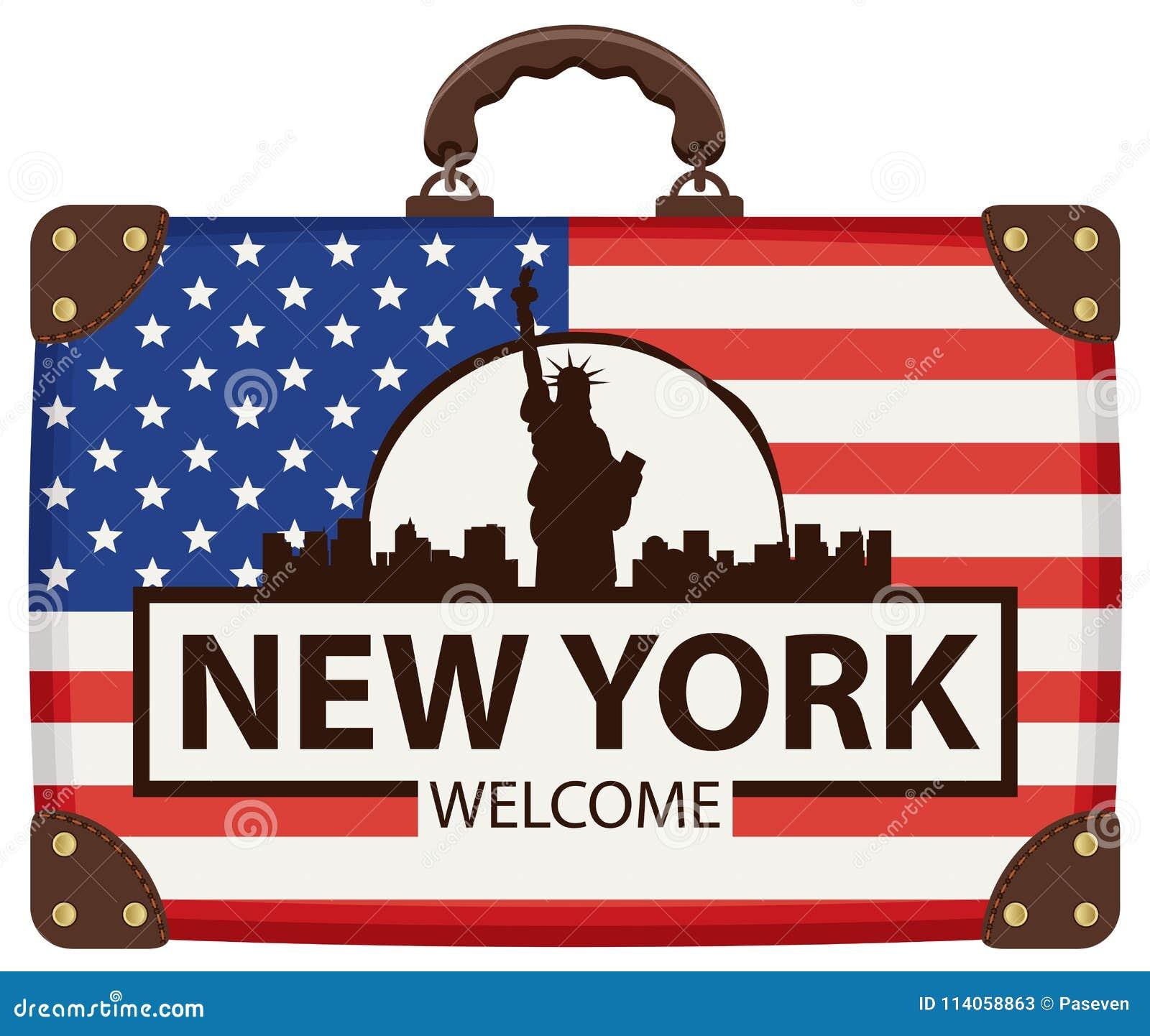 Borsa Di Viaggio Con La Bandiera Di U.S.A. E Della Statua ...