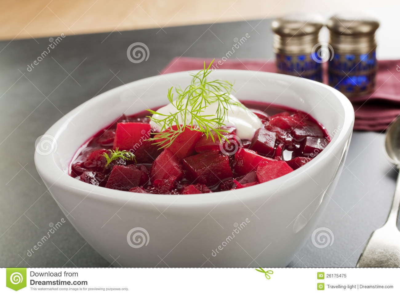Traditional Russian soup borscht, made from beetroot, potatoes, onion ...