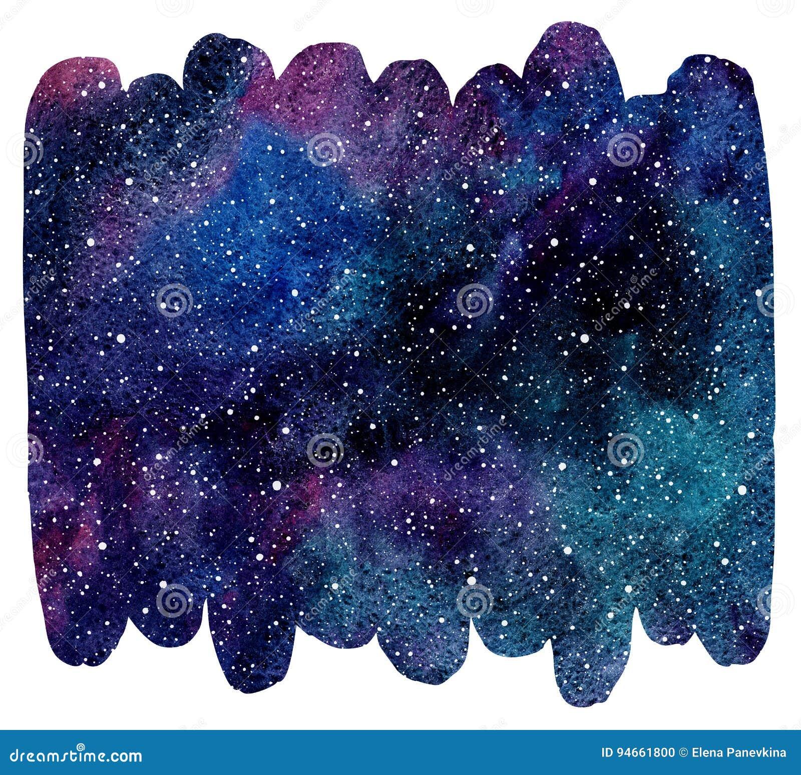 Borste dragen bakgrund för färgrik vattenfärg för form kosmisk