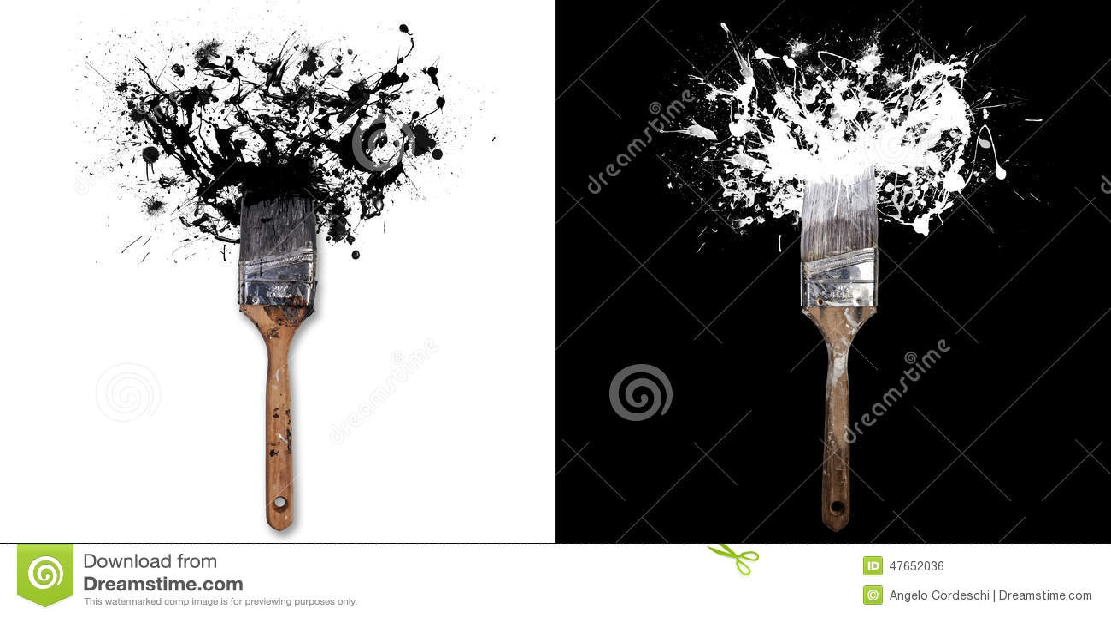 Borstel met plonsen van witte/zwarte inkt Op witte/zwarte achtergrond