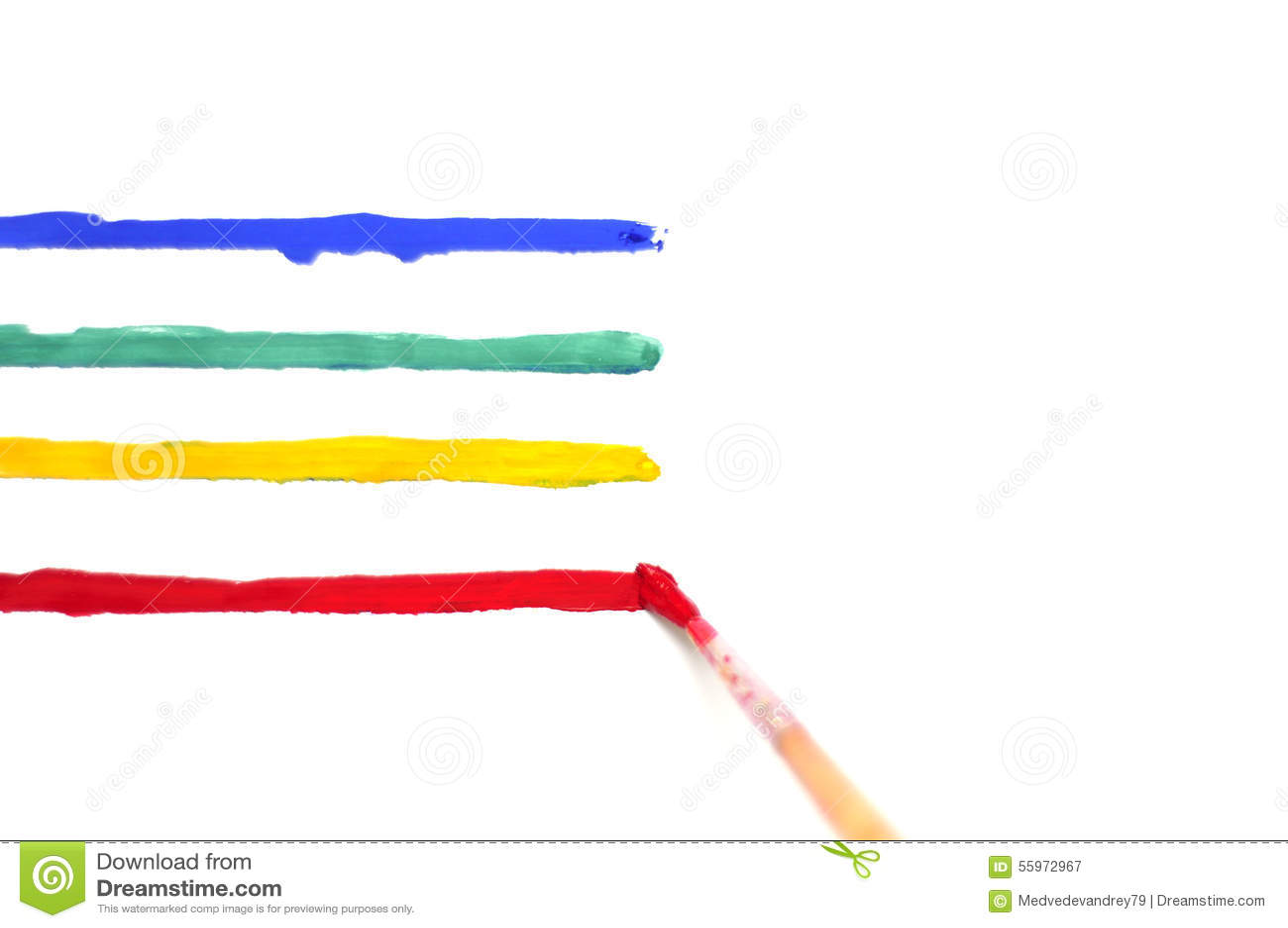 Borstel Met Verf En Gekleurde Strepen Stock Foto   Afbeelding  55972967