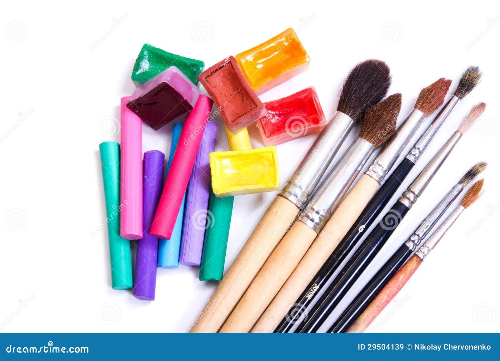 Borstels, pastelkleur en waterkleurenverven