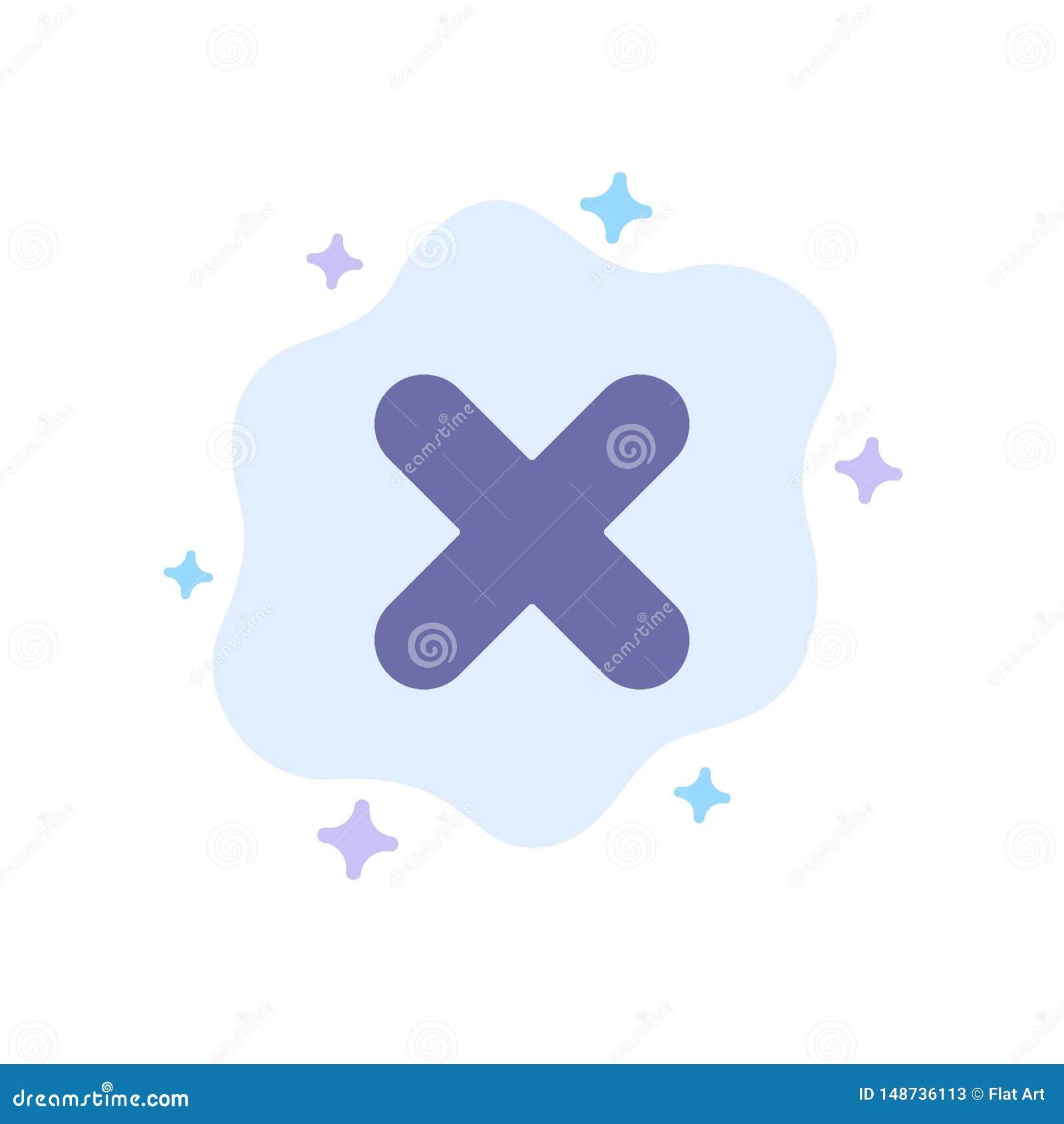 Borttagnings annullering, slut, arg blå symbol på abstrakt molnbakgrund
