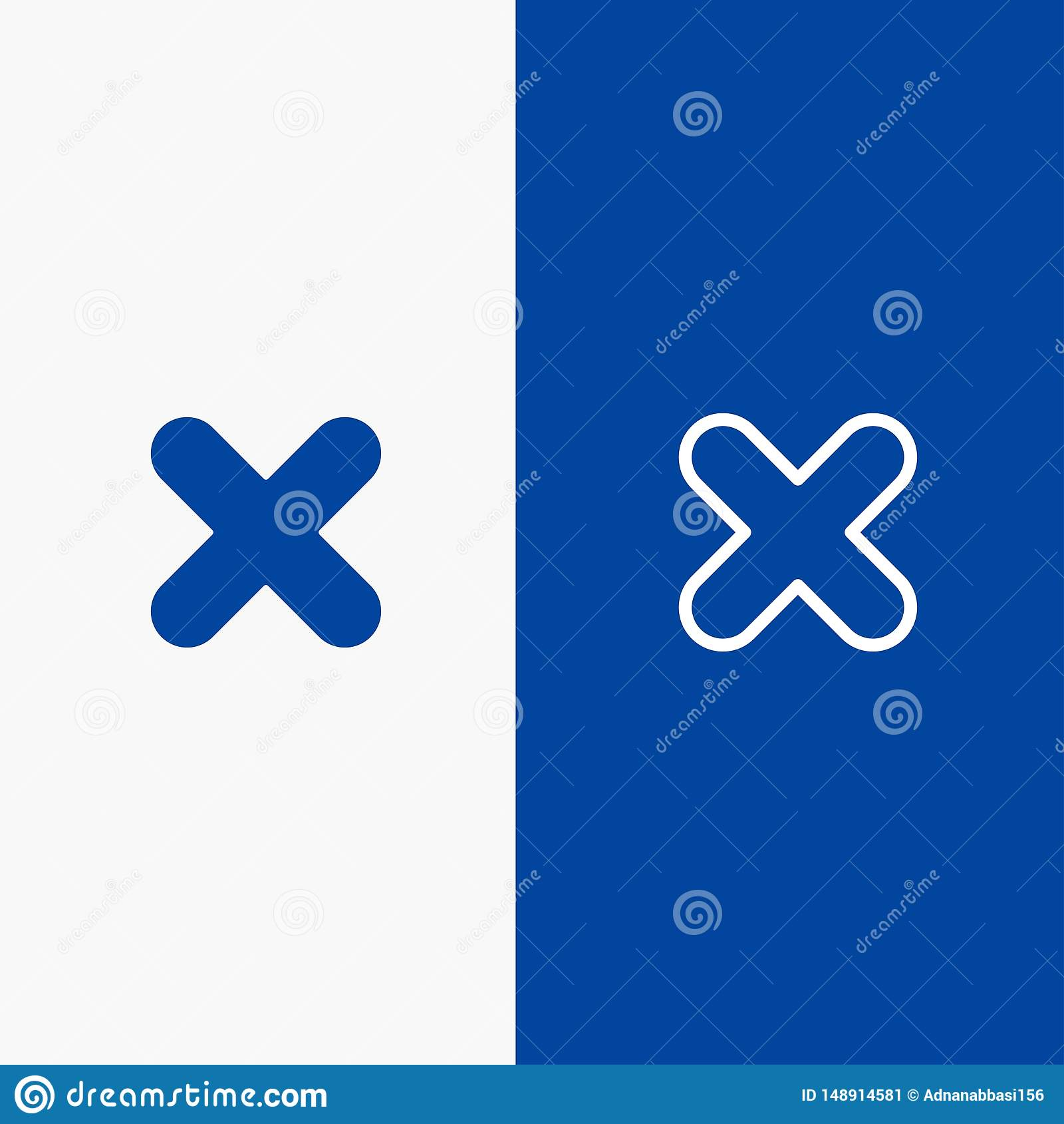 Borttagnings, annullering, slut, baner för blå för baner för arg symbol för linje och för skåra fast blått symbol för linje och f