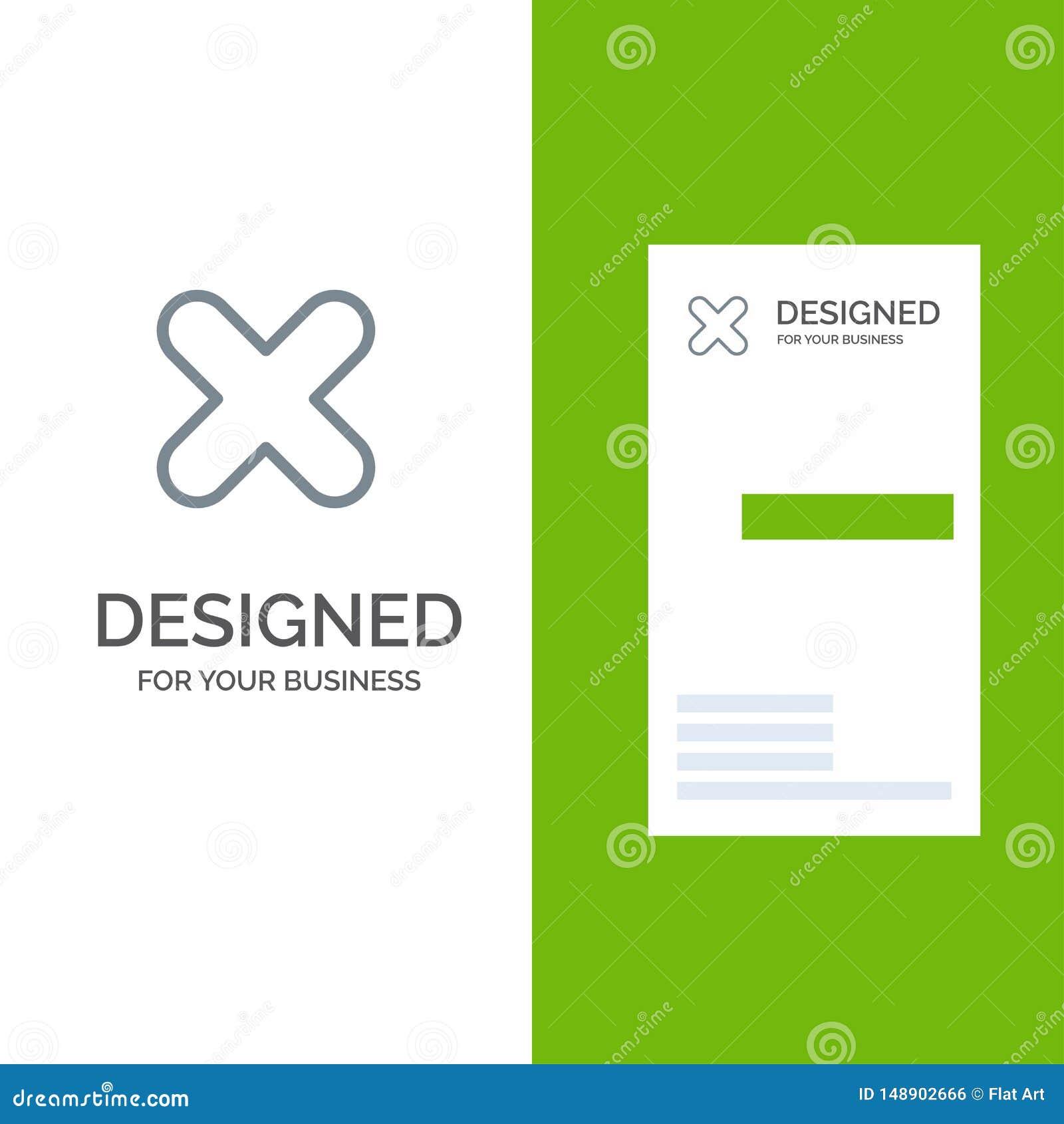 Borttagnings, annullering, slut, kors Grey Logo Design och mall för affärskort