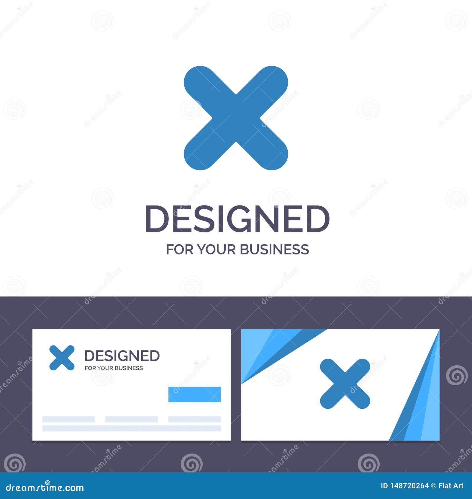 Borttagnings för idérik mall för affärskort och logo, annullering, slut, arg vektorillustration