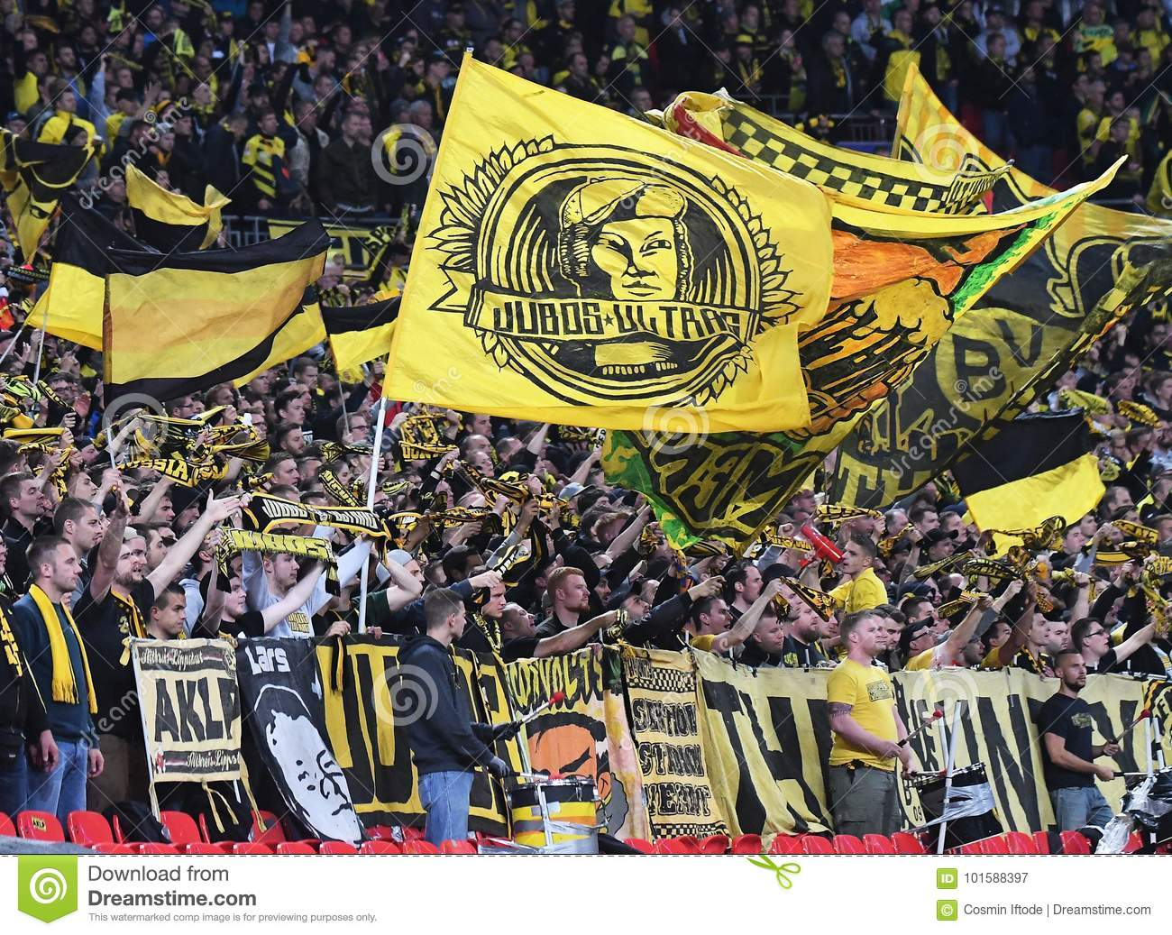 Borussia Dortmund Ultras With Flags Editorial Photography Image Of Strength Hotspur 101588397