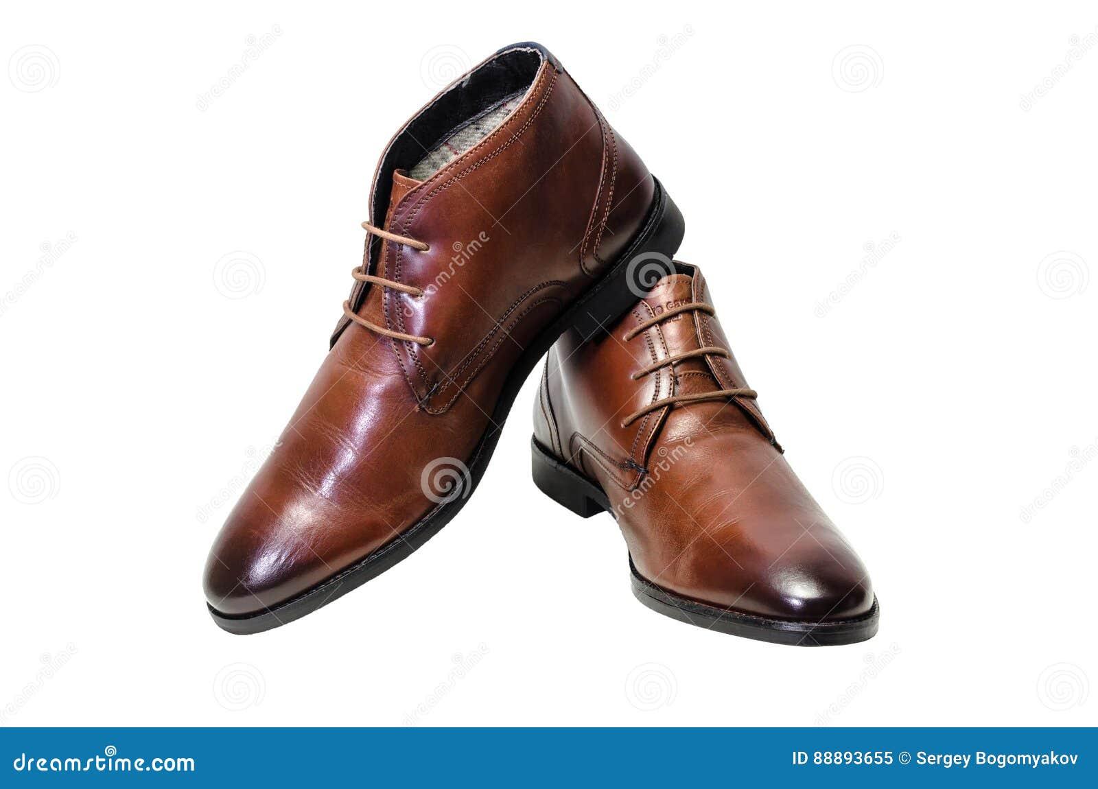 Borwn用皮革包盖在白色背景隔绝的人鞋子 侧视图