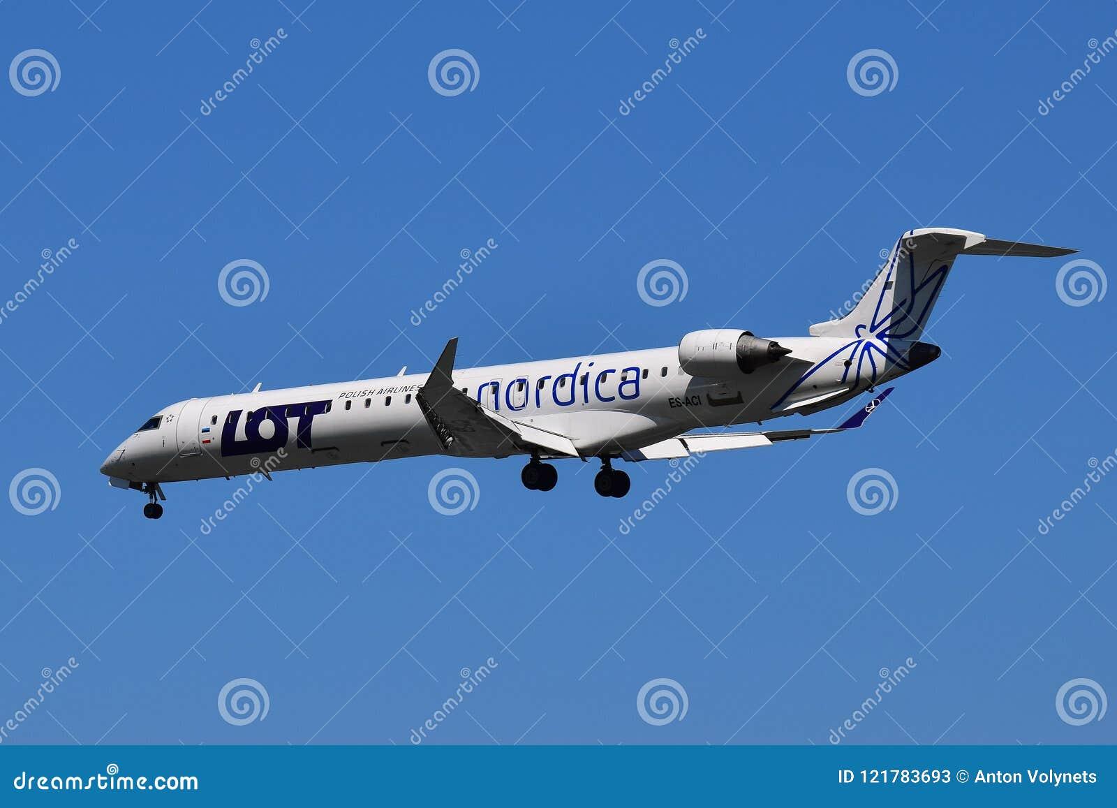 Nordica Bombardier CRJ-900 editorial stock photo  Image of