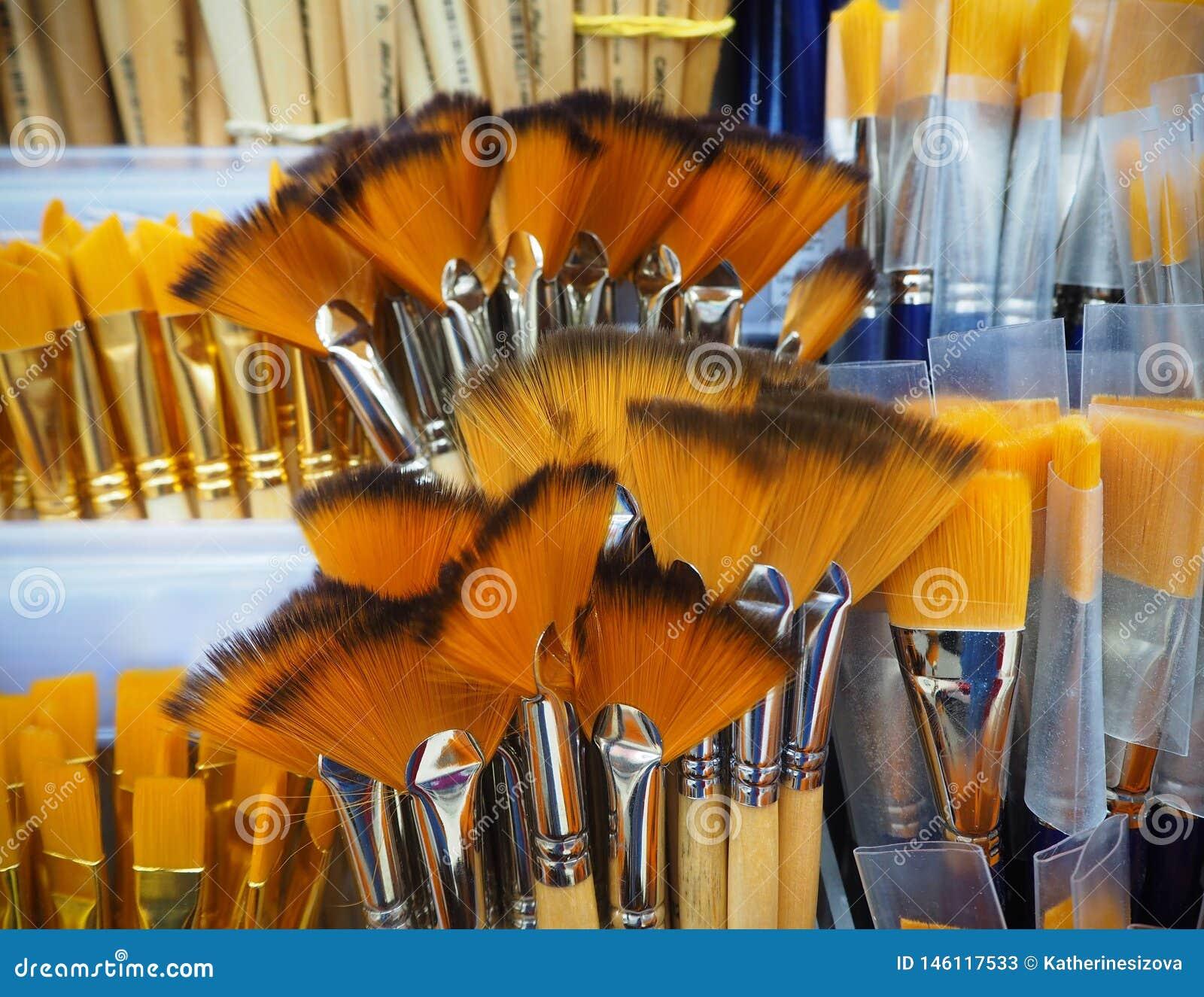 Bos van verfborstels voor kunstenaars in de winkel
