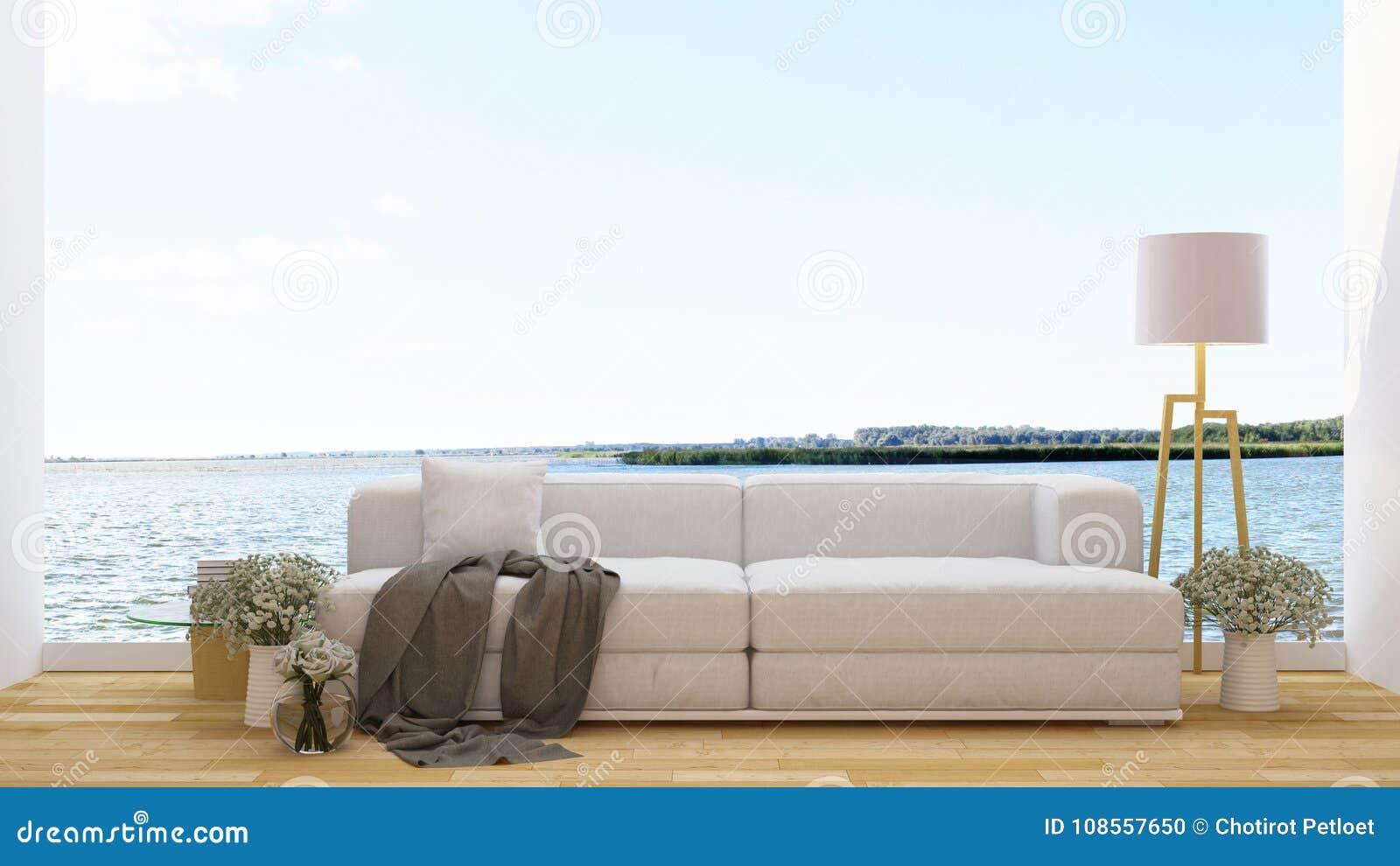 Bosatt område i kafé- eller vardagsrum- och sjösikten - tolkning 3d