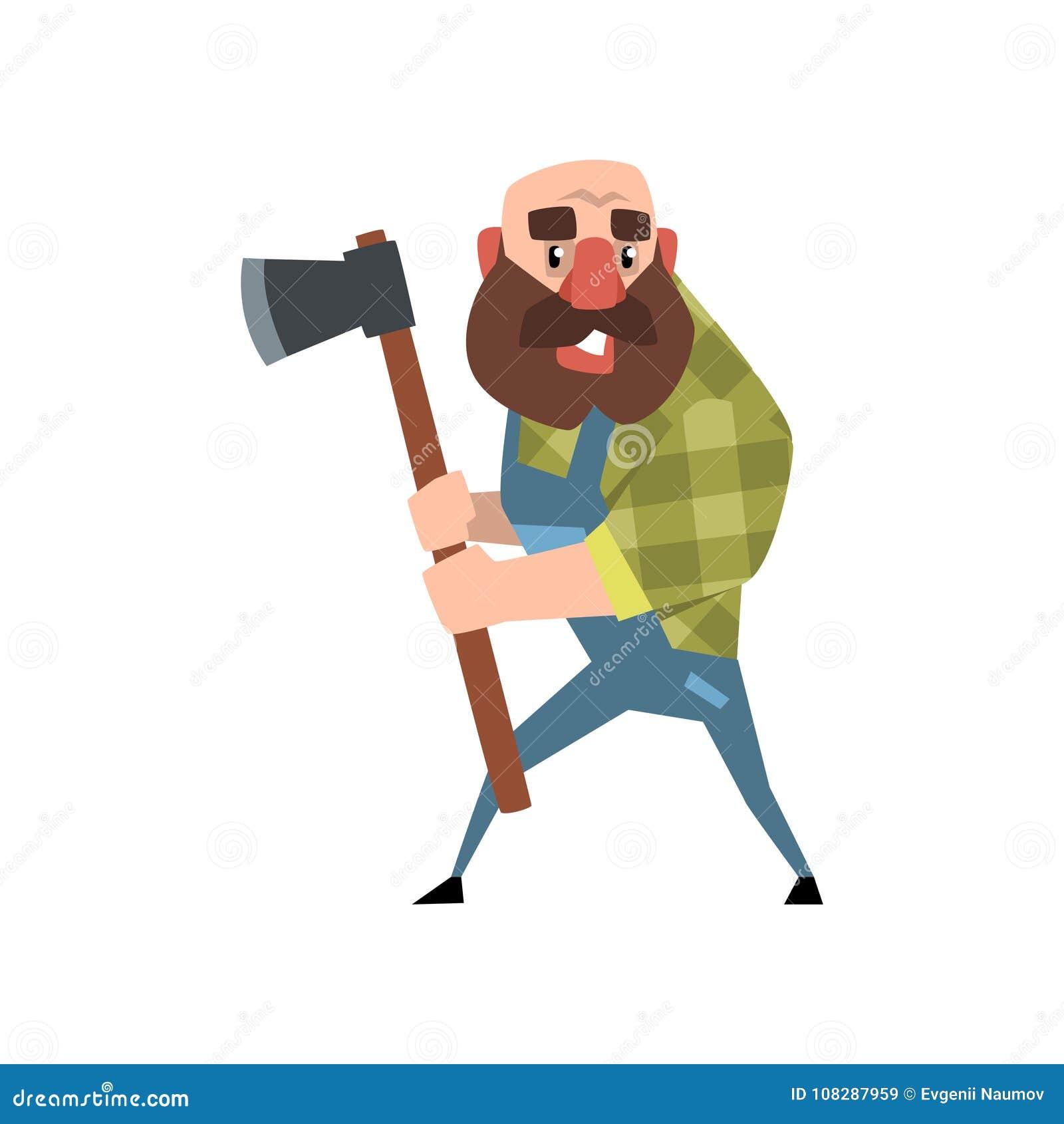 Boscaiolo calvo divertente che posa con la sua ascia uomo barbuto