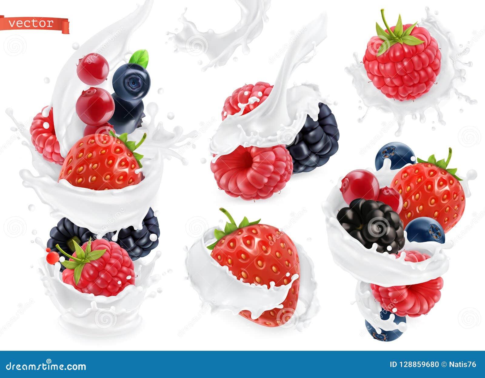 Bosfruityoghurt Gemengde bes en melkplonsen 3d vector