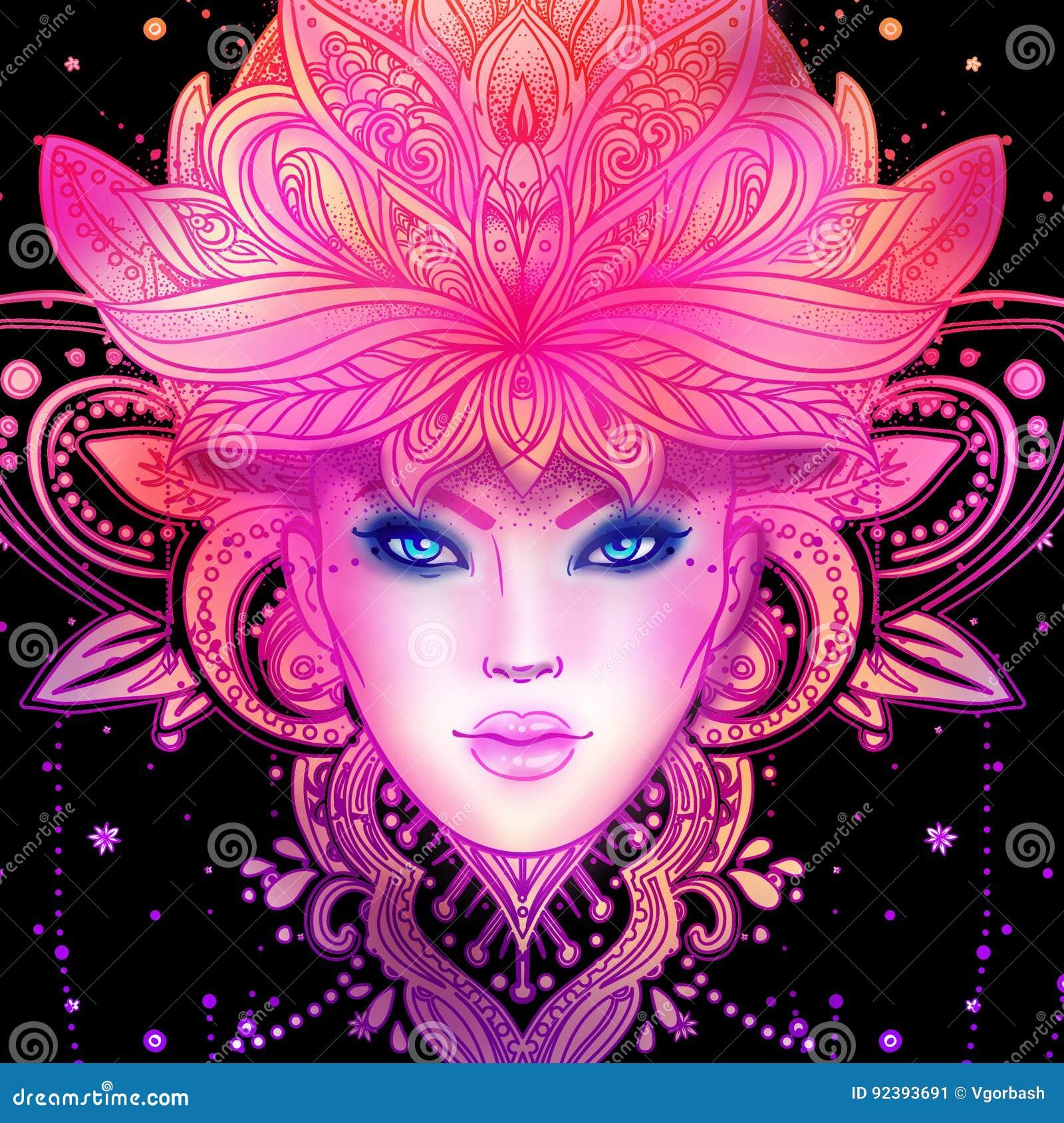 Boska bogini Plemienna fuzi Boho diwa Pięknego azjata boska dziewczyna z ozdobną koroną, kokoshnik Artystyczna dama