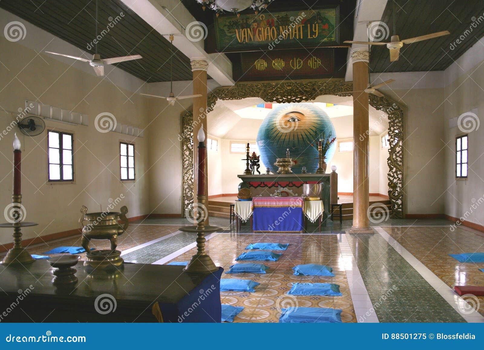 Boski oko w Cao Dai świątyni w da nang mieście, Wietnam