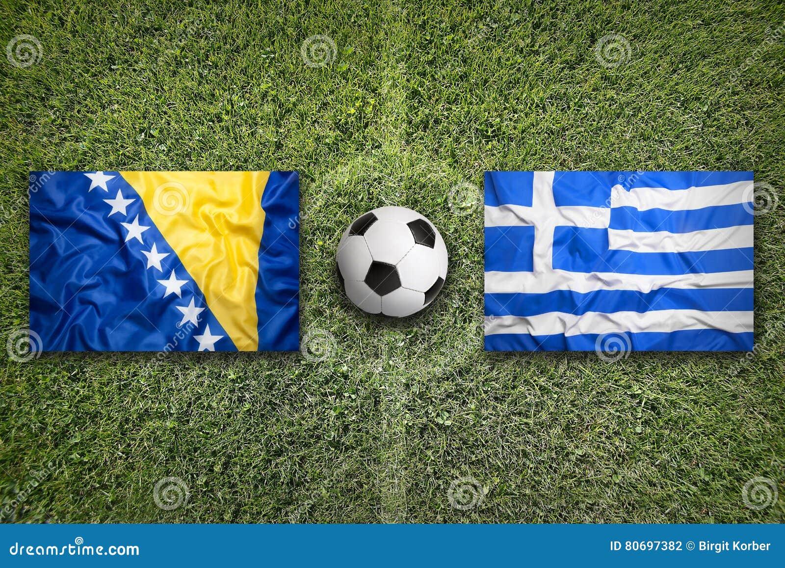 Bosnië-Herzegovina versus De vlaggen van Griekenland op voetbalgebied