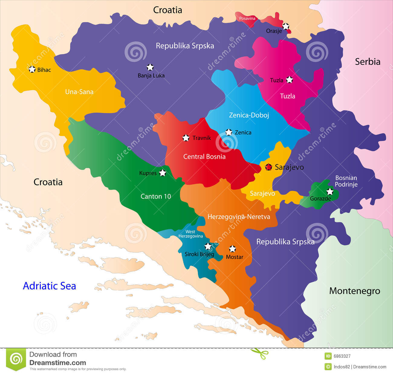 Bosnia map stock vector. Illustration of division, geographical ...