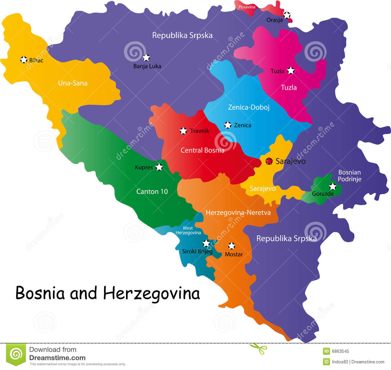Bosnia And Herzegovina Map Stock Vector Image Of Regions - Where is bosnia on a world map