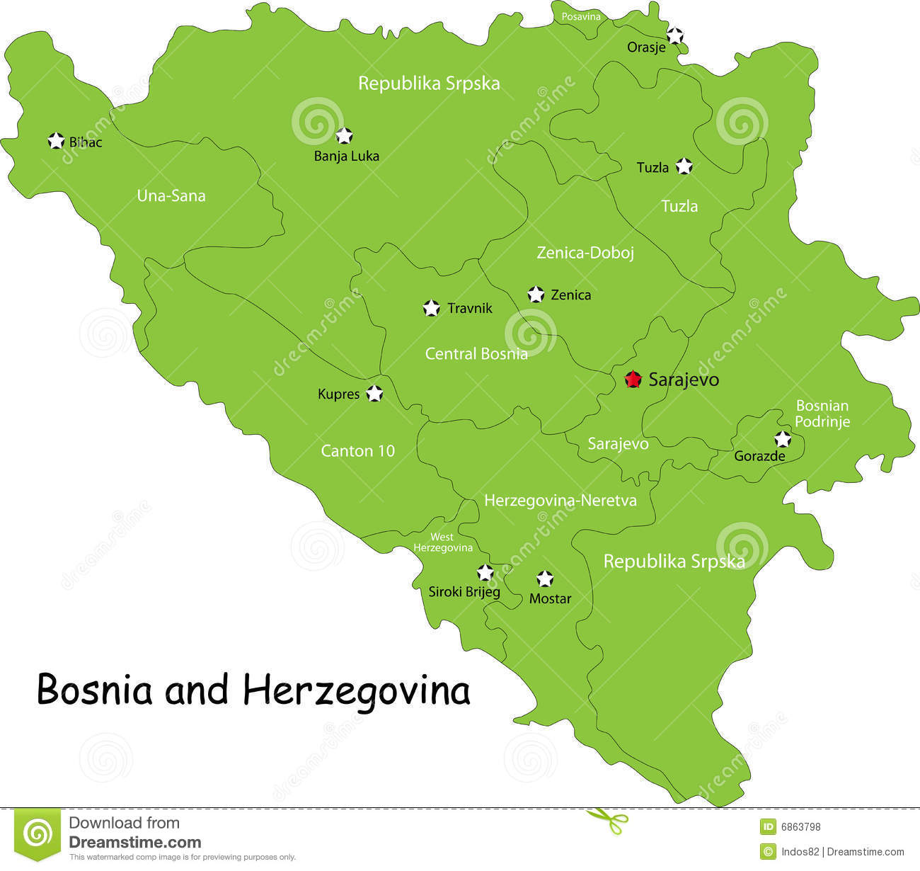 Bosnia And Herzegovina Map Royalty Free Stock Photos Image - Bosnia and herzegovina map