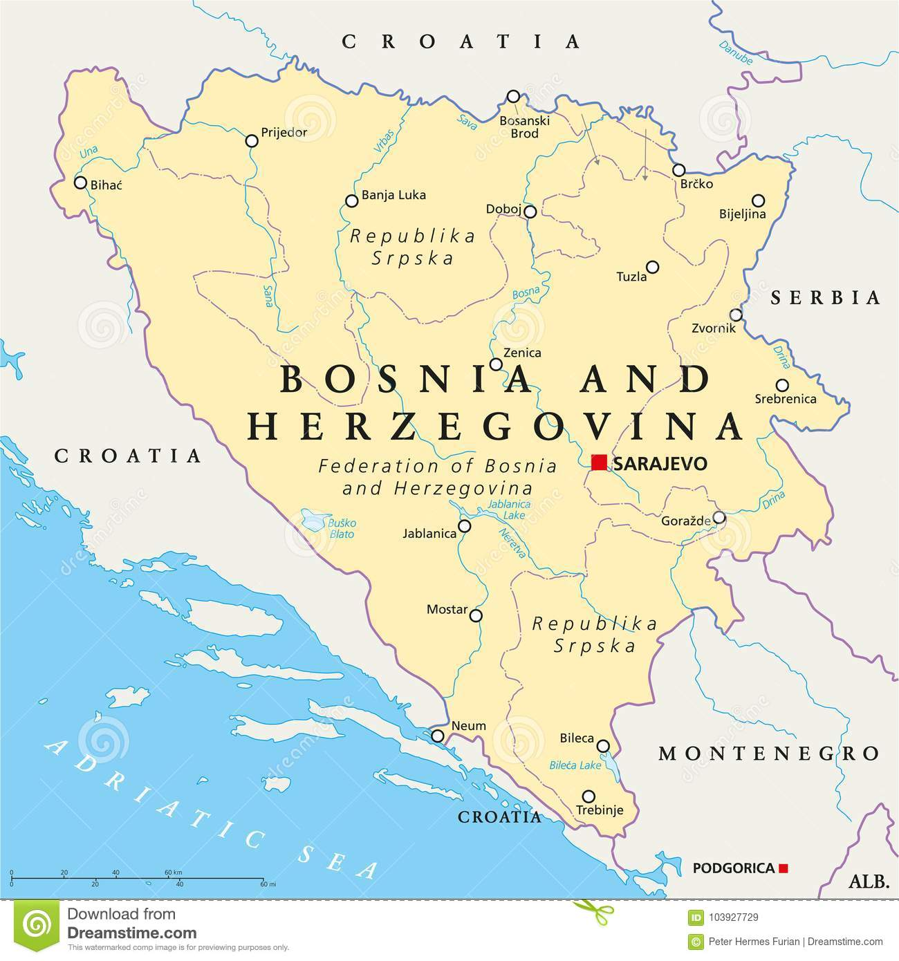 Bosnia And Herzegovina Political Map Stock Vector Illustration