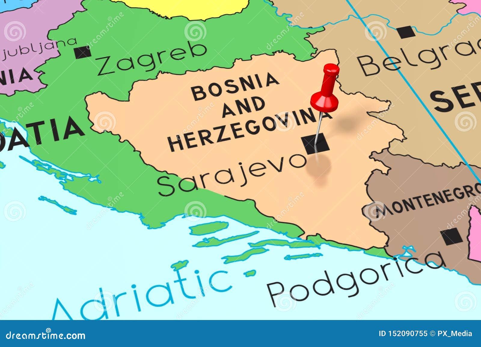 Bosnia And Herzegovina Sarajevo Capital City Pinned On
