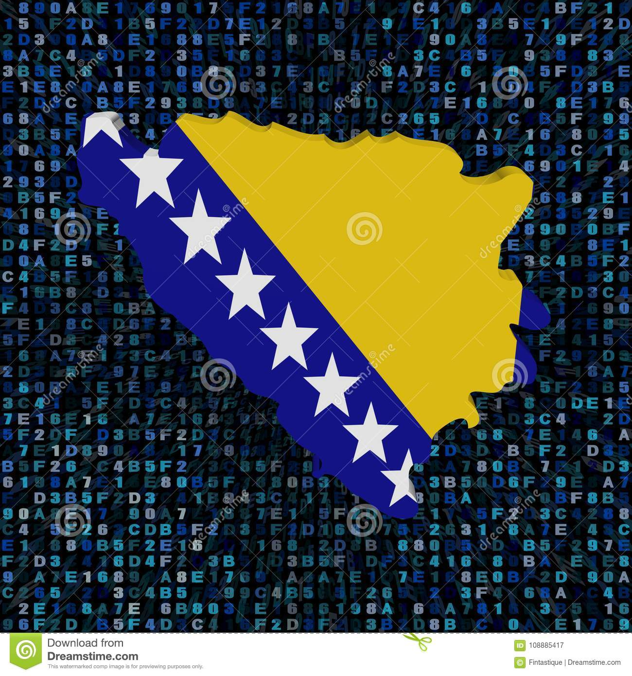 Bosnia Map Flag On Hex Code Illustration Stock Illustration ...