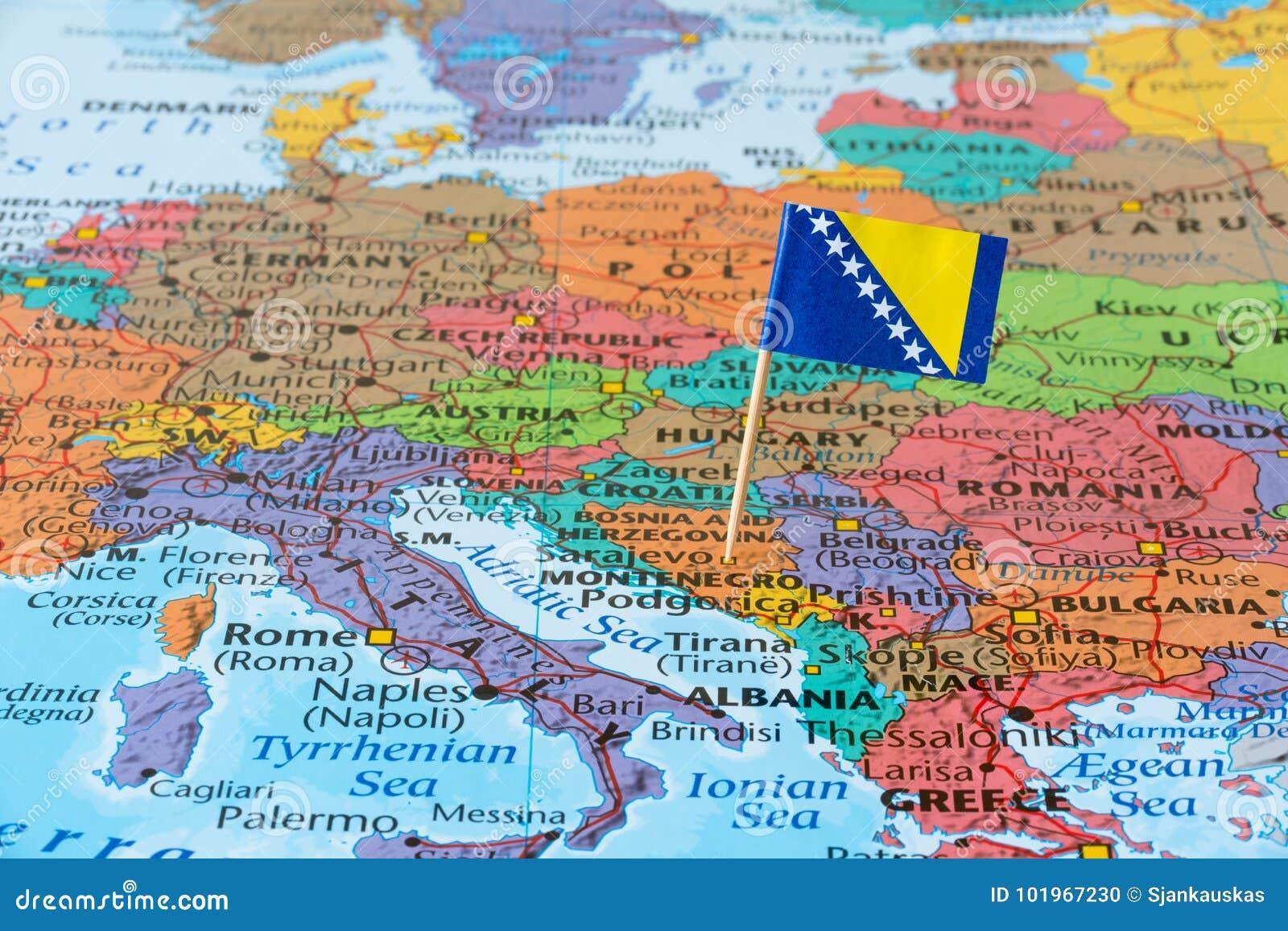 Karta Bosnien Och Hercegovina.Bosnien Herzegovina Oversikt Arkivfoto Bild Av Barlast Stift