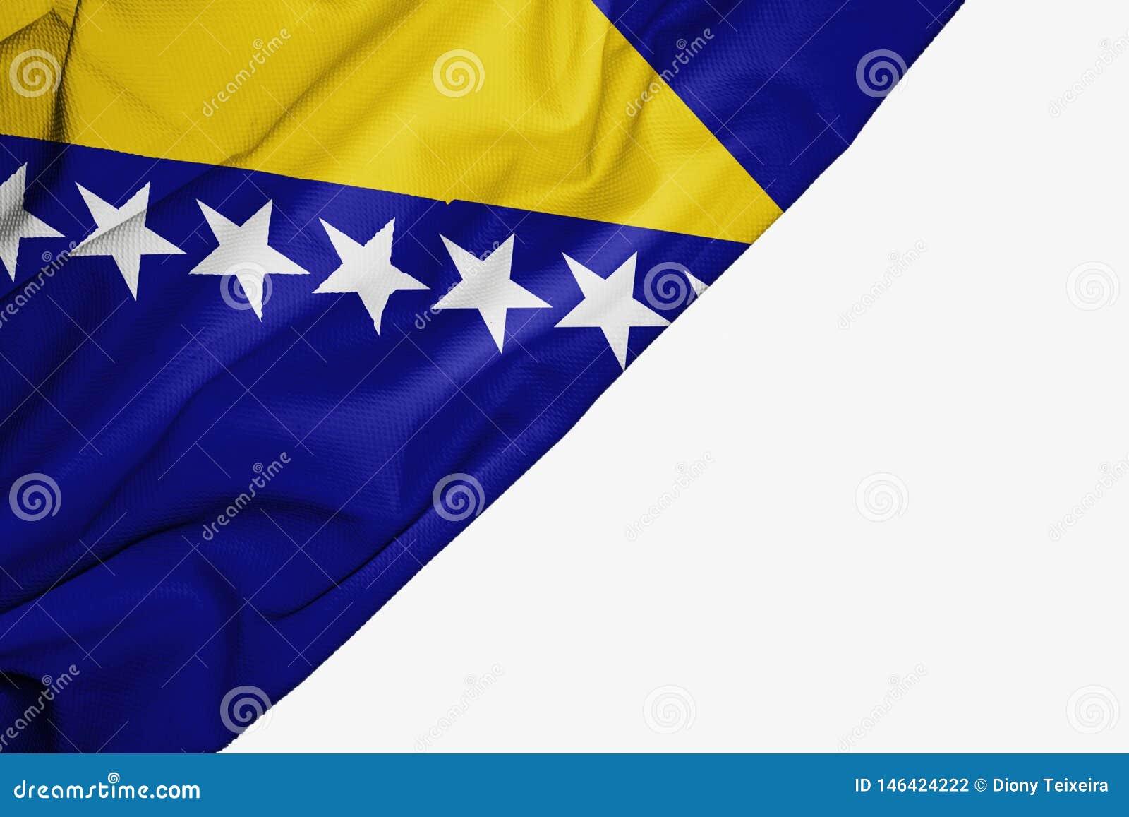 Bosnien und Herzegowina Flagge des Gewebes mit copyspace f?r Ihren Text auf wei?em Hintergrund