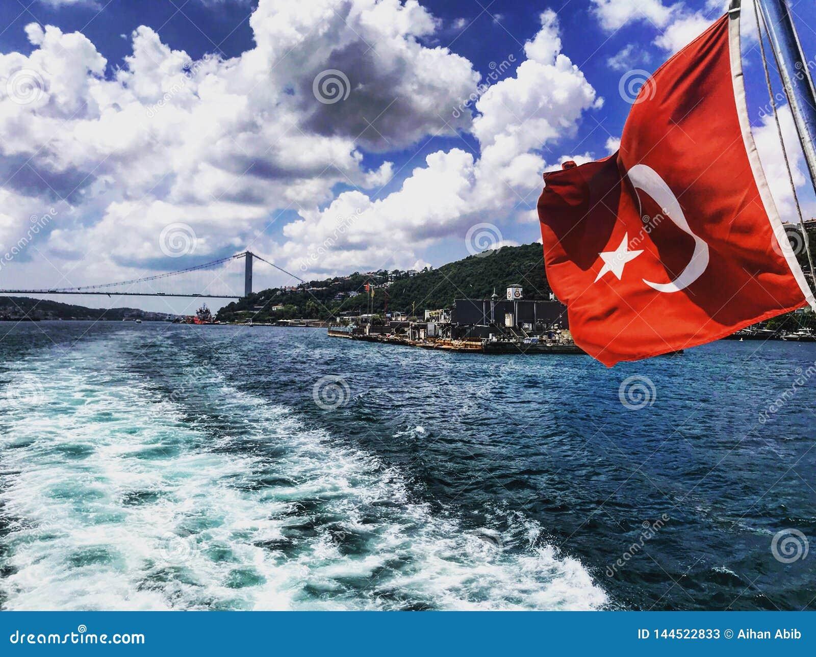 Bosphorus strait turkish flag turkey