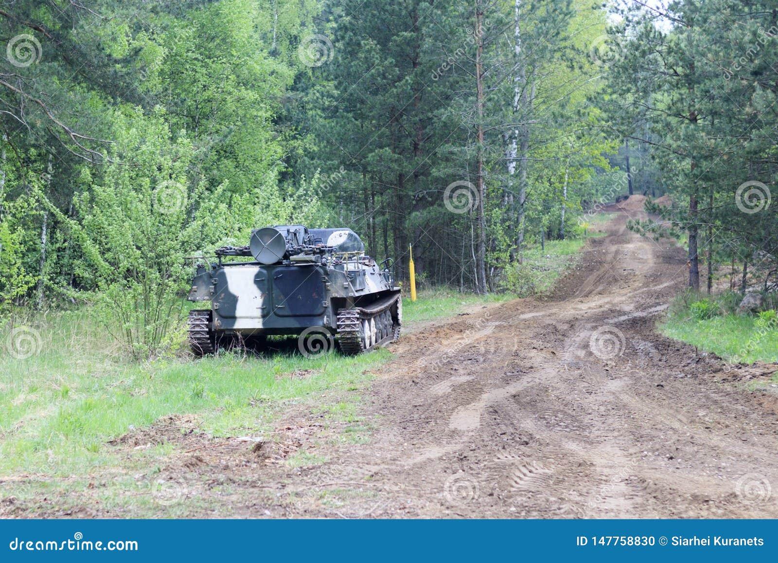 Bosque digno del vehículo de lucha de la infantería parte del camino del equipo militar tenga tono