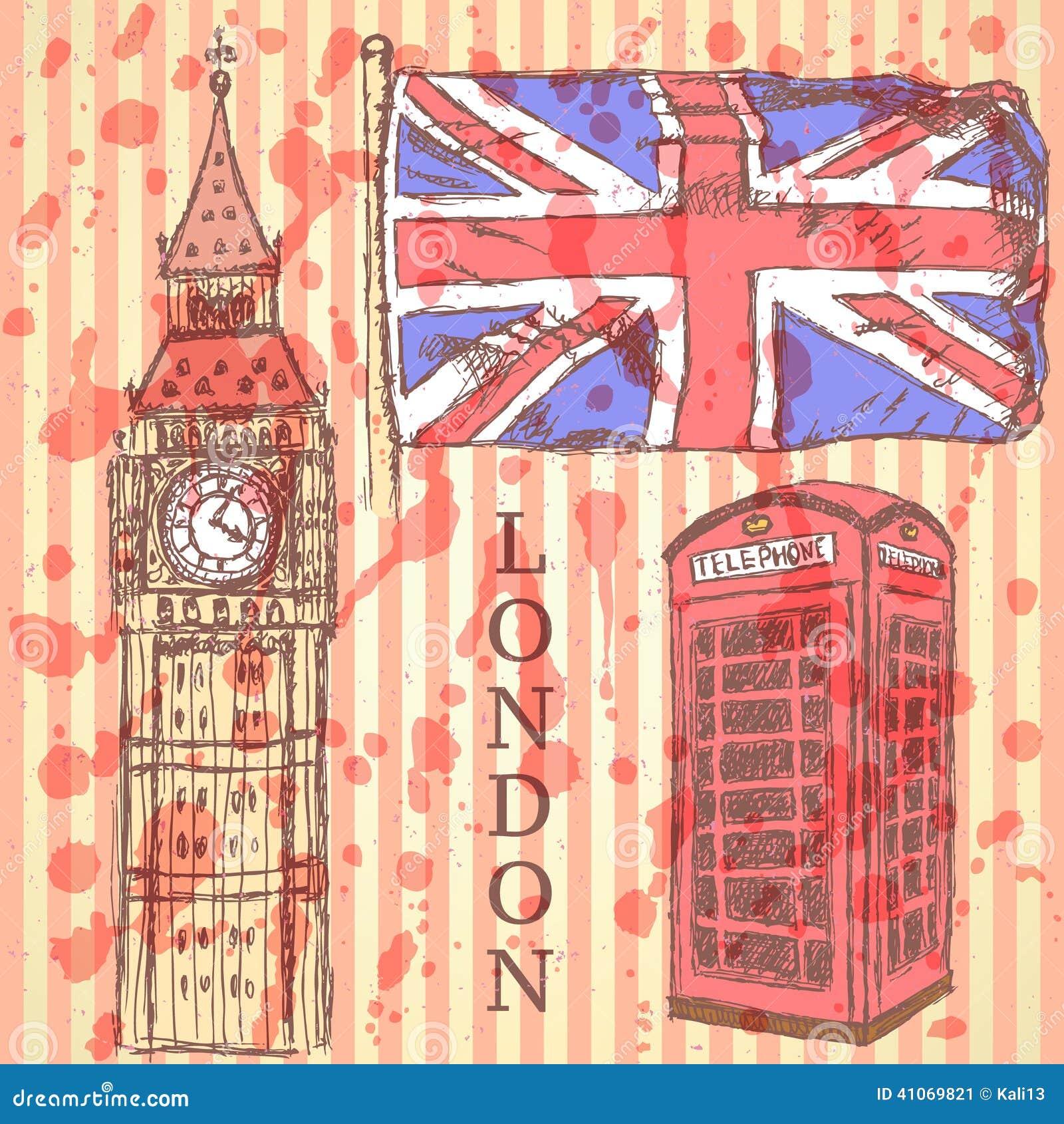 Bosqueje big ben la bandera brit nica y la cabina del for La cabina di zio ben