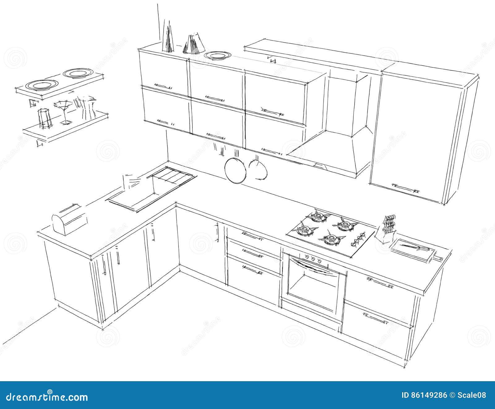 Bosqueje el dibujo del contorno de blanco y negro interior for Dibujos sobre cocina