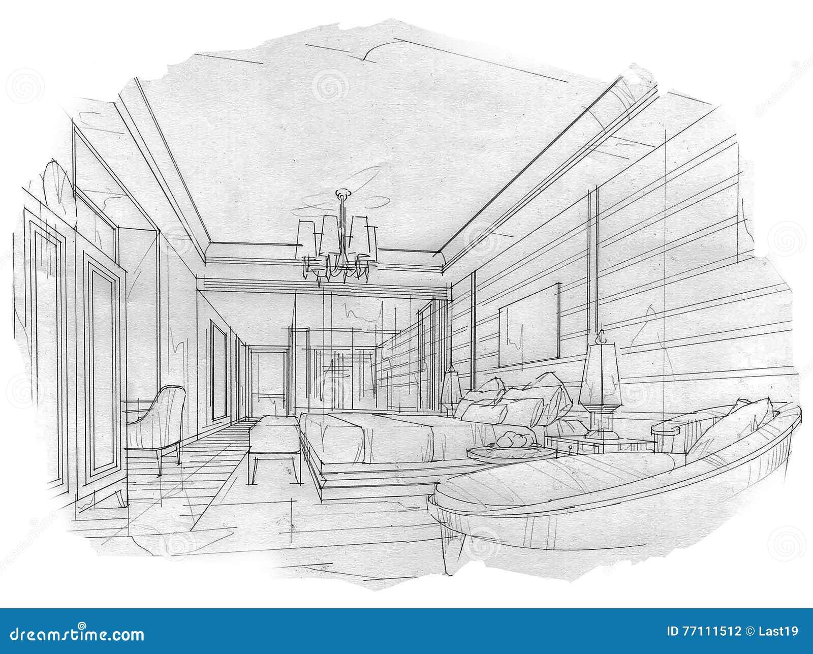 Bosqueje el dormitorio interior de la perspectiva dise o for Dormitorio para padres en blanco y negro