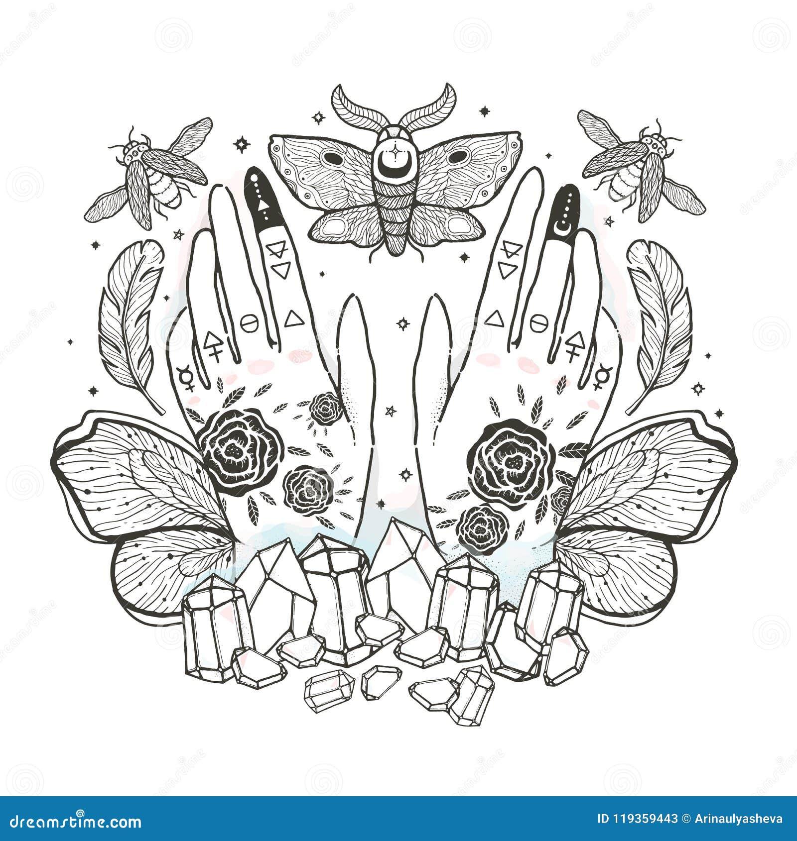 Bosqueje el ejemplo gráfico con y oculta los símbolos dibujados la mano mística Ilustración del vector C de Halloween, astrológic