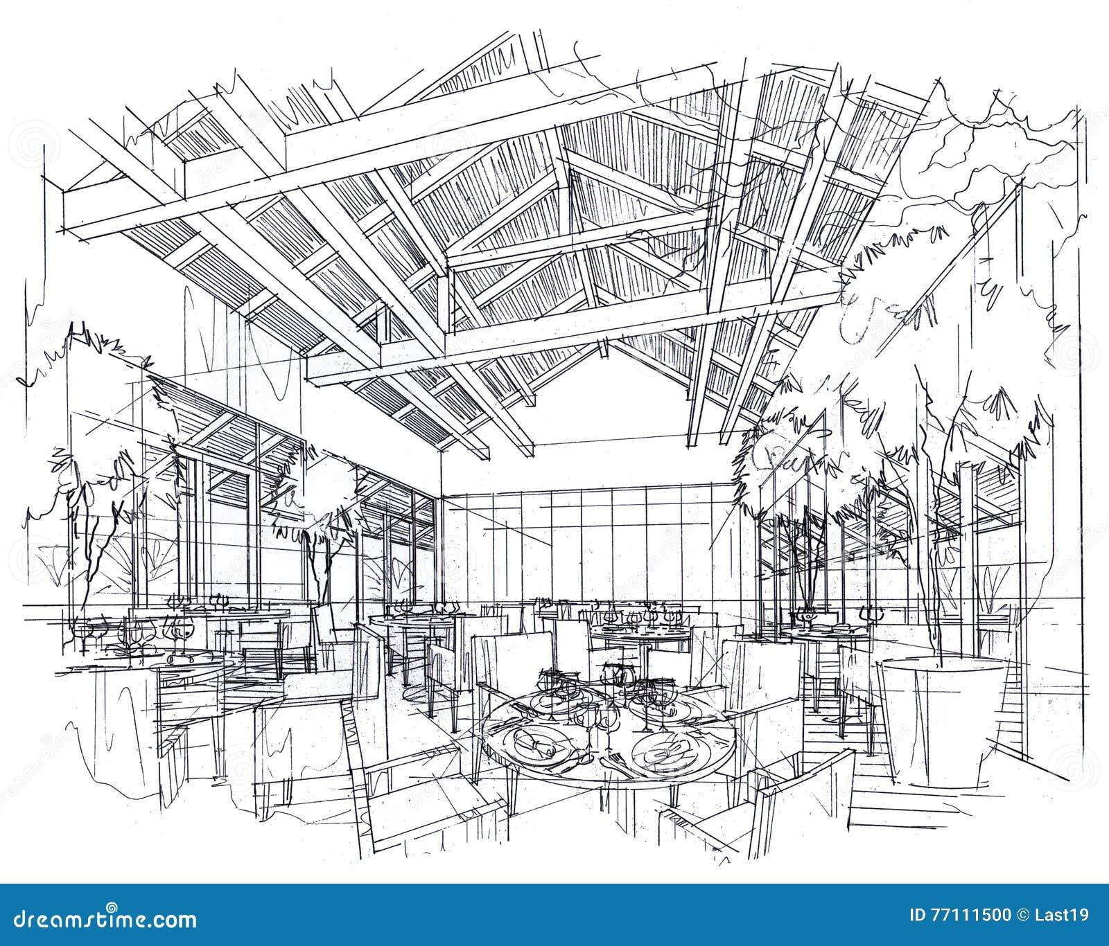 Bosqueje El Restaurante Interior De La Perspectiva, Diseño