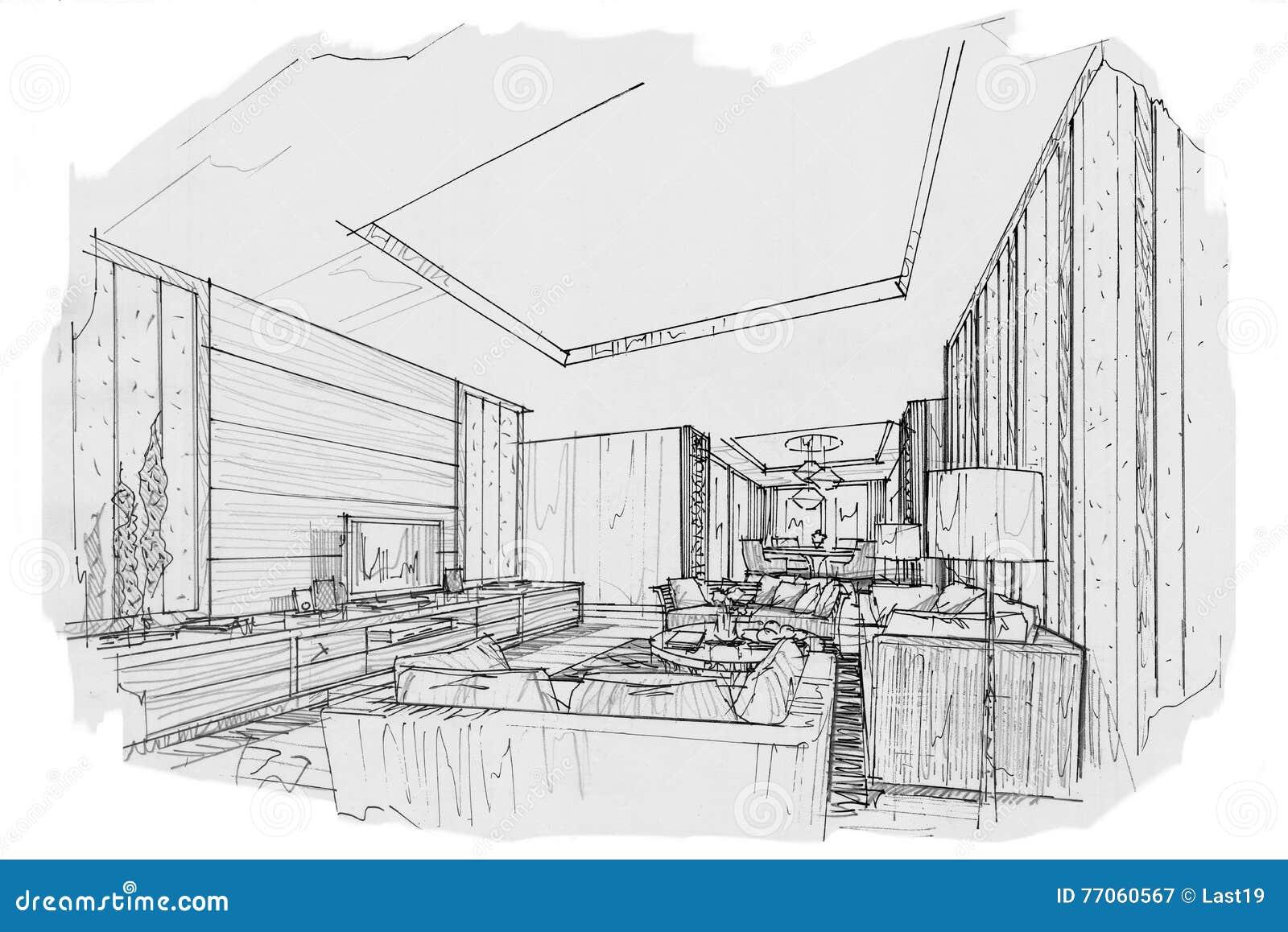 Bosqueje la sala de estar interior de la perspectiva for Sala de estar blanco y negro