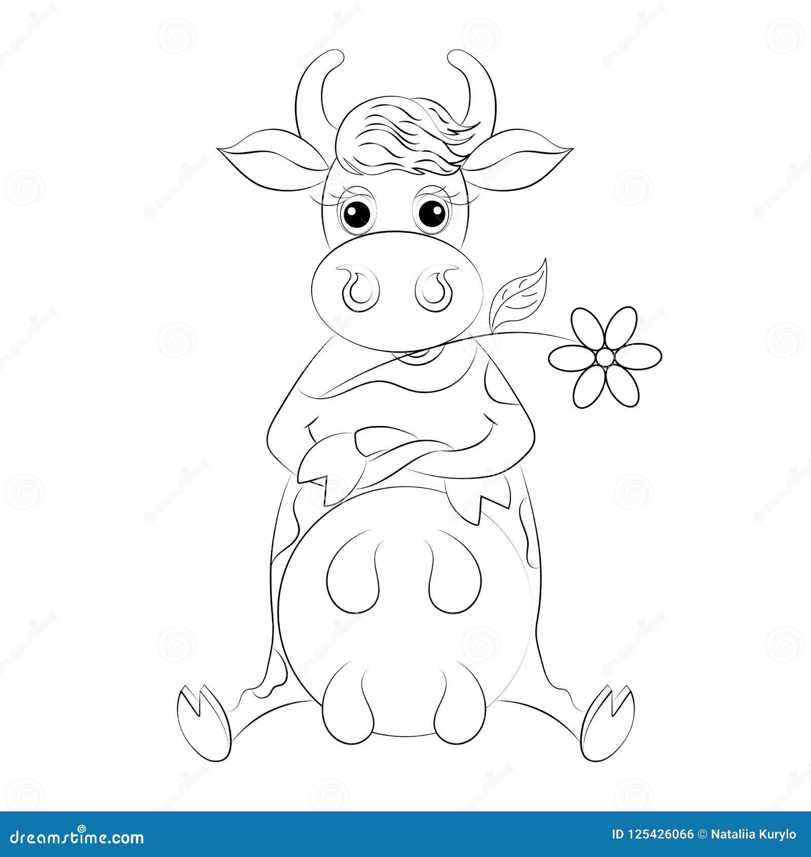Bosqueje La Sentada De La Vaca De La Historieta, Para El Libro De ...