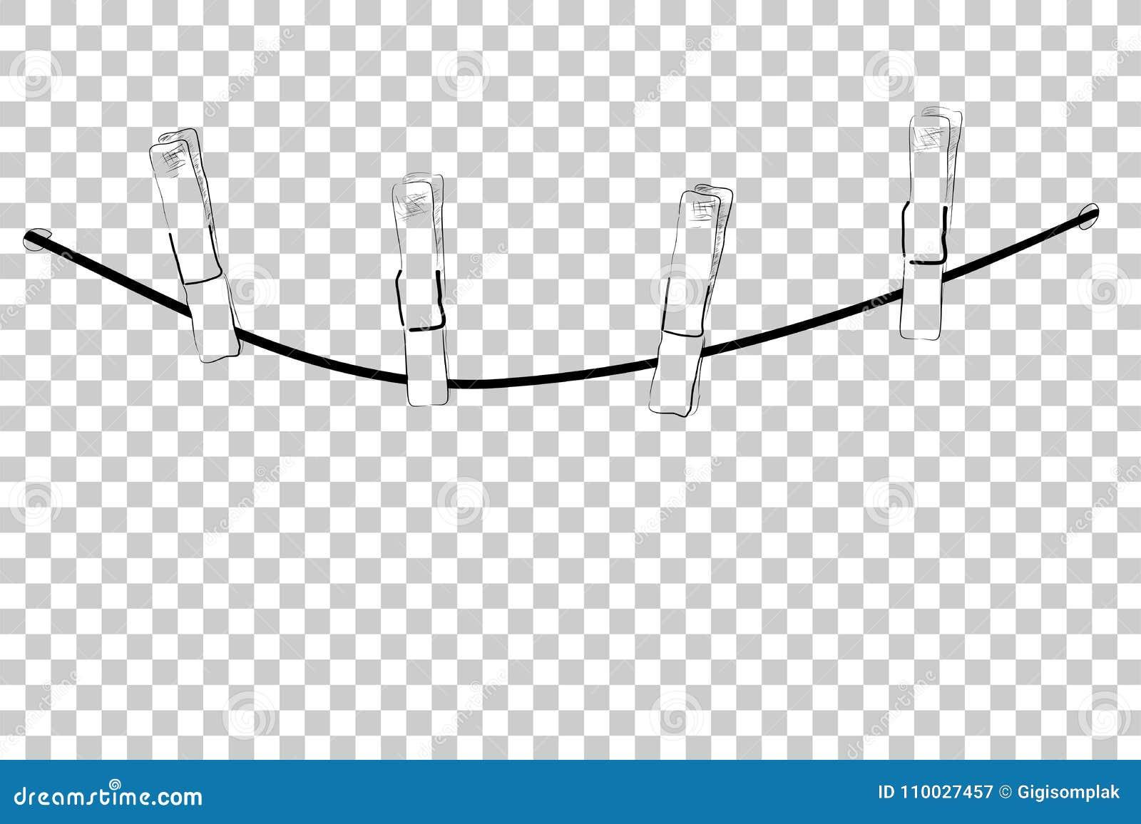 Bosqueje los pernos de la cuerda y del paño, para colgar algo, en el fondo transparente del efecto
