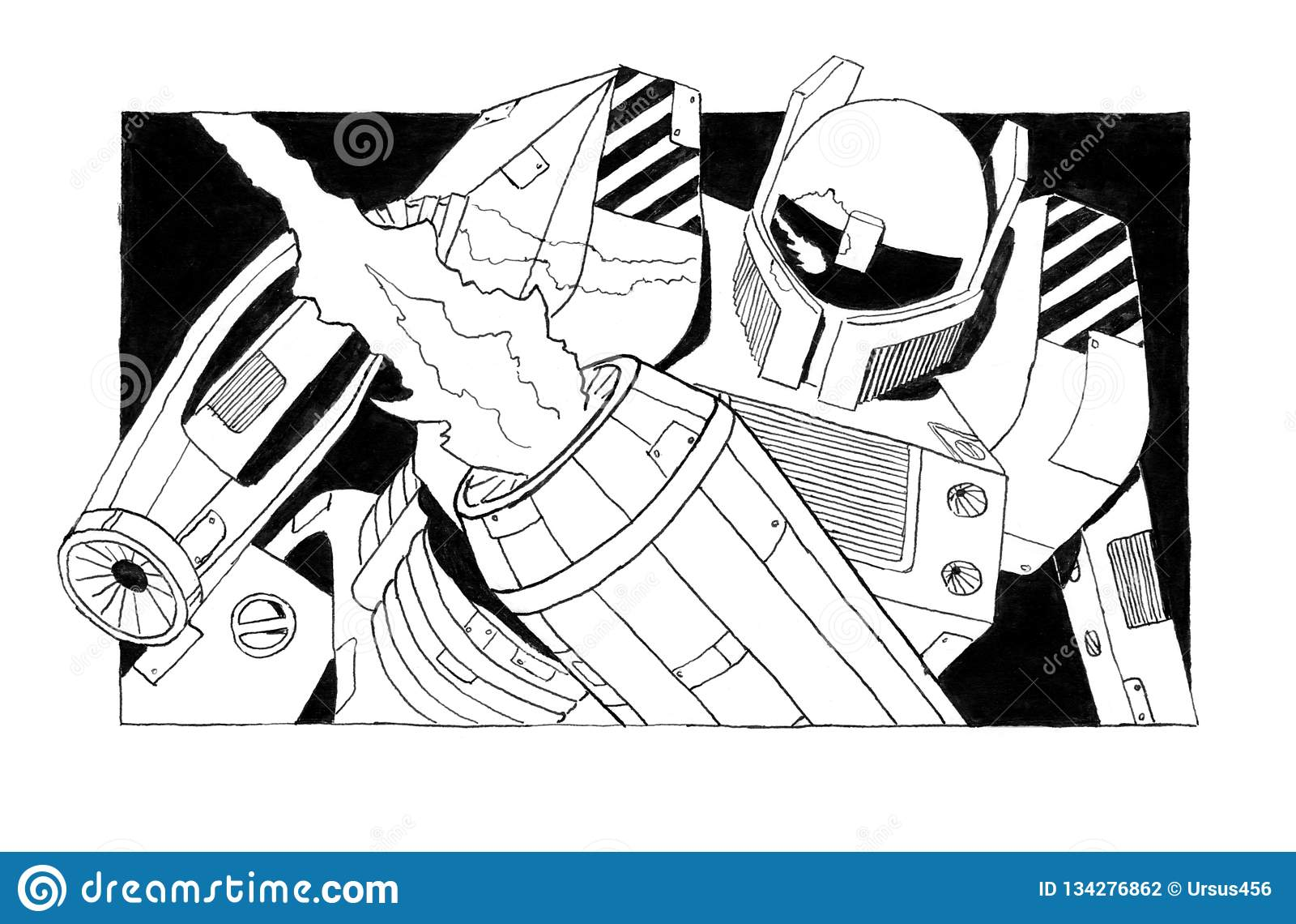 Bosquejo áspero de la tinta del Grunge negro del soldado armado peligroso del robot