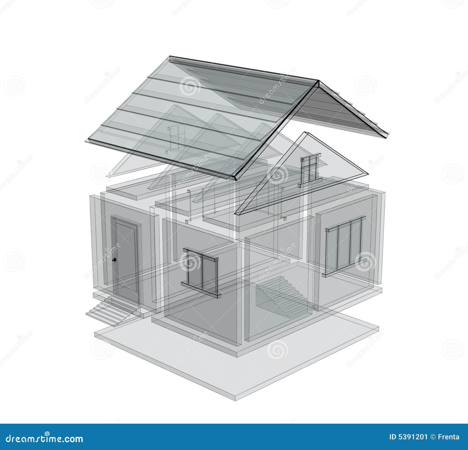 Bosquejo 3d de una casa