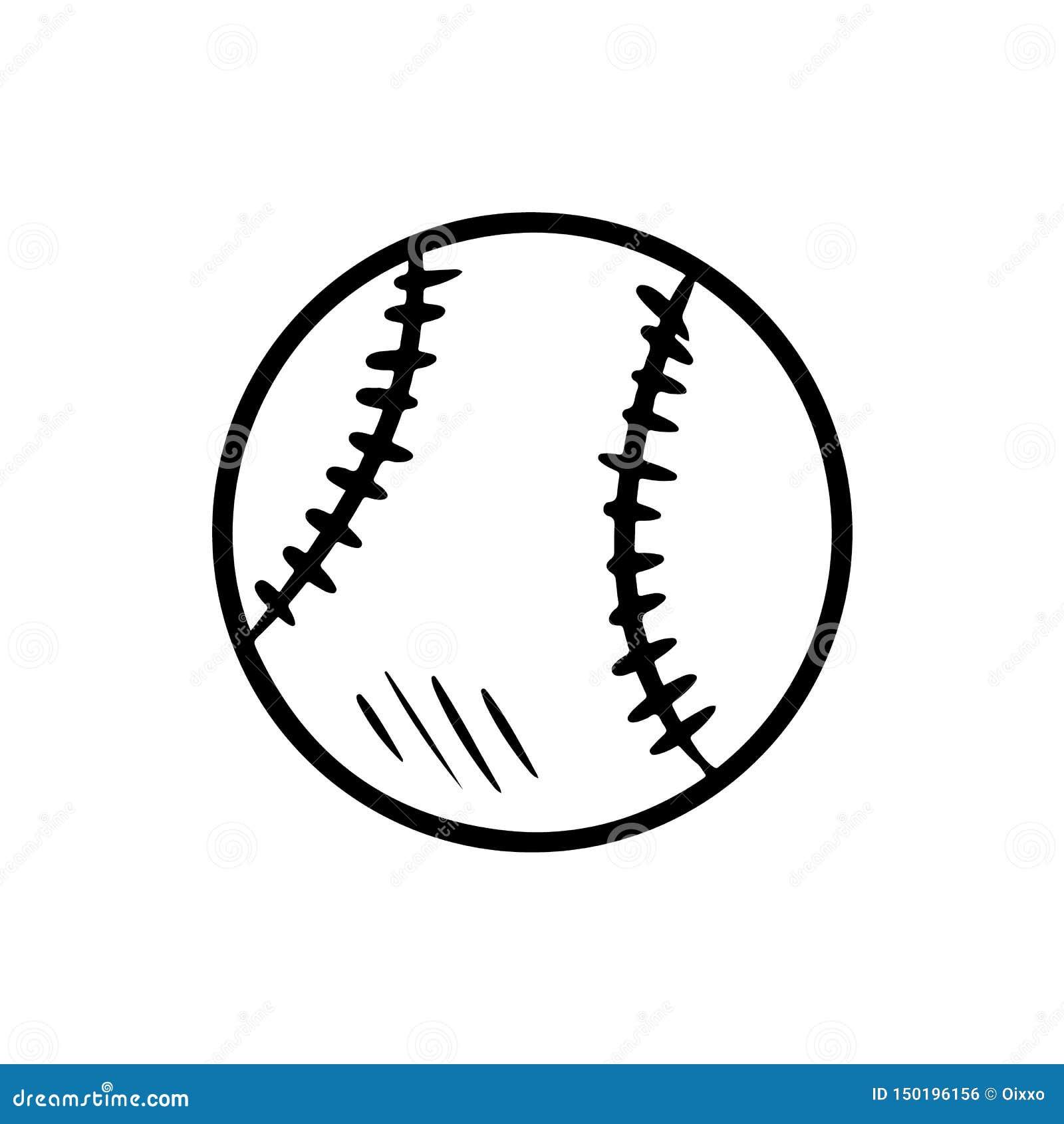 Bosquejo aislado exhausto de la mano del béisbol Béisbol lindo del garabato