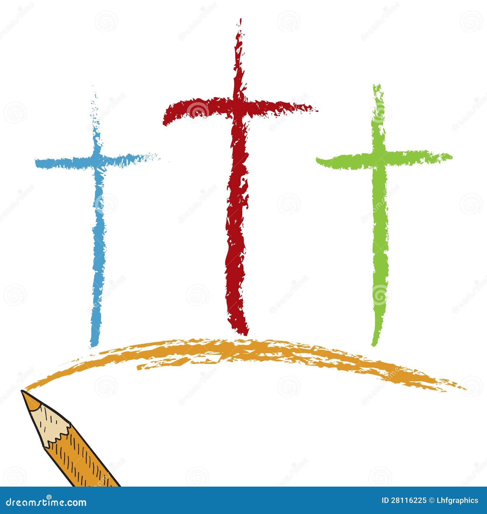 Bosquejo Coloreado Del Lápiz De Las Cruces De Calvary