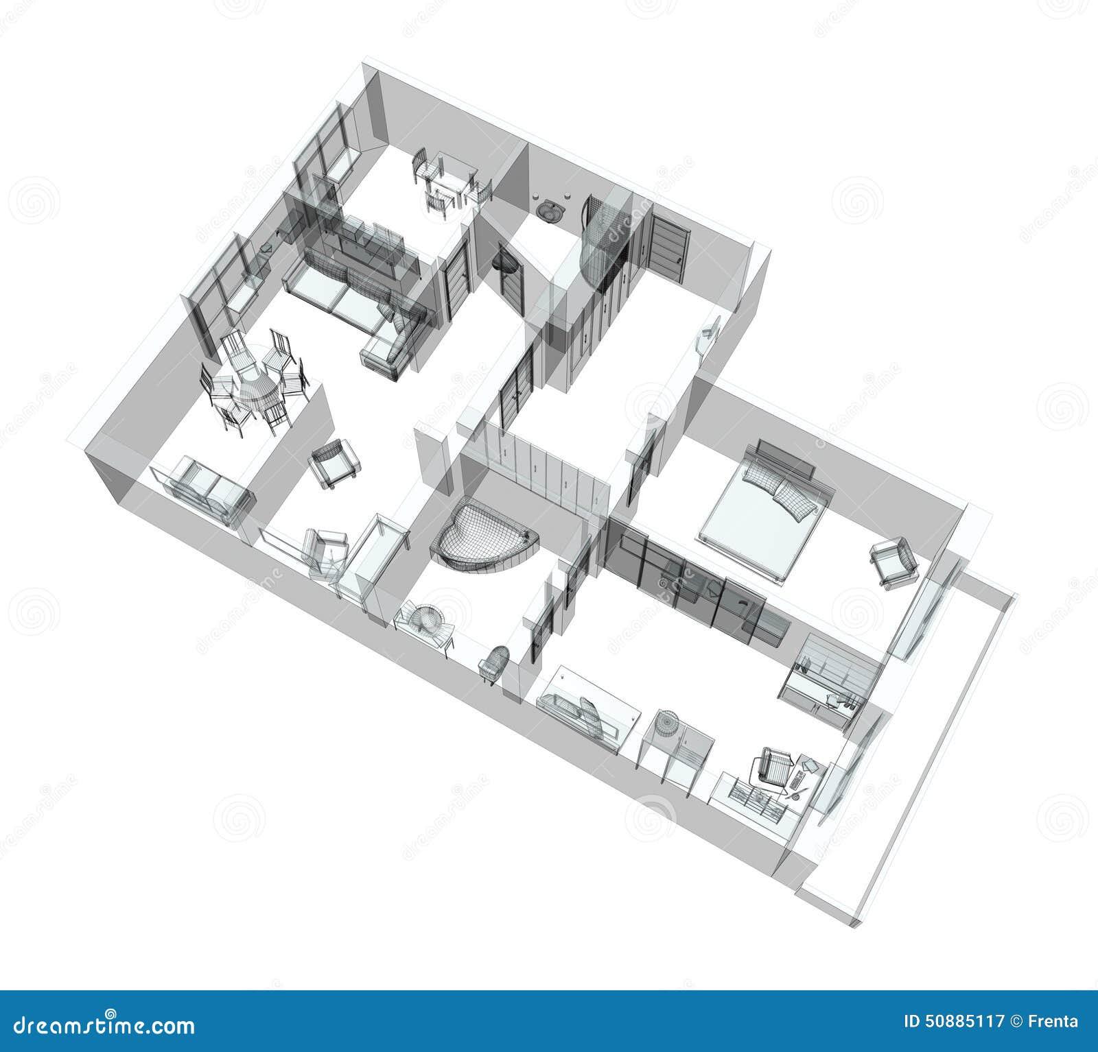 Bosquejo 3d De Un Apartamento Del Cuatro-cuarto Stock de ilustración ...