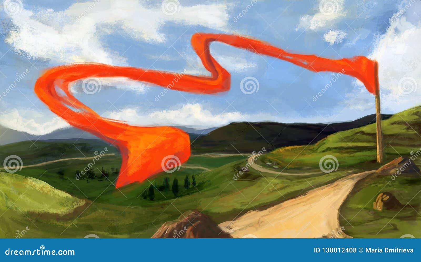 Bosquejo de Digitaces Paisaje con las montañas, las colinas verdes y los campos, carretera nacional, rocas Flotación de la bander