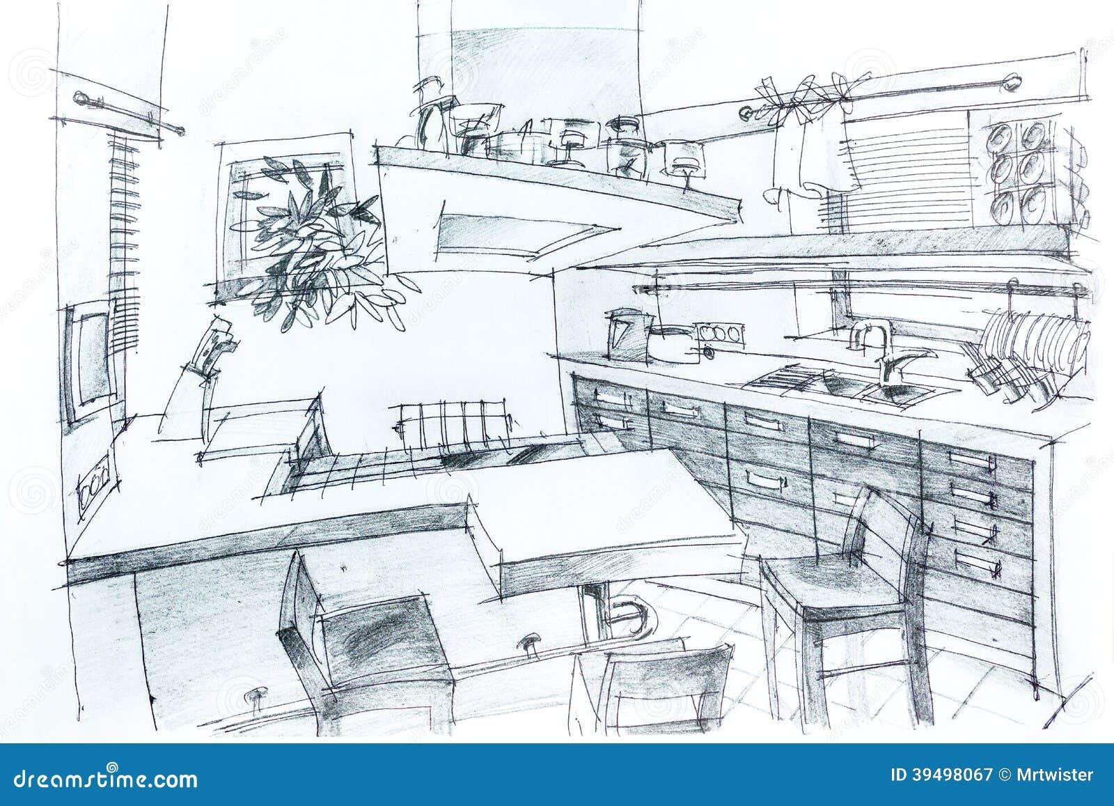 Bosquejo De La Casa Con El Lápiz Stock de ilustración - Imagen