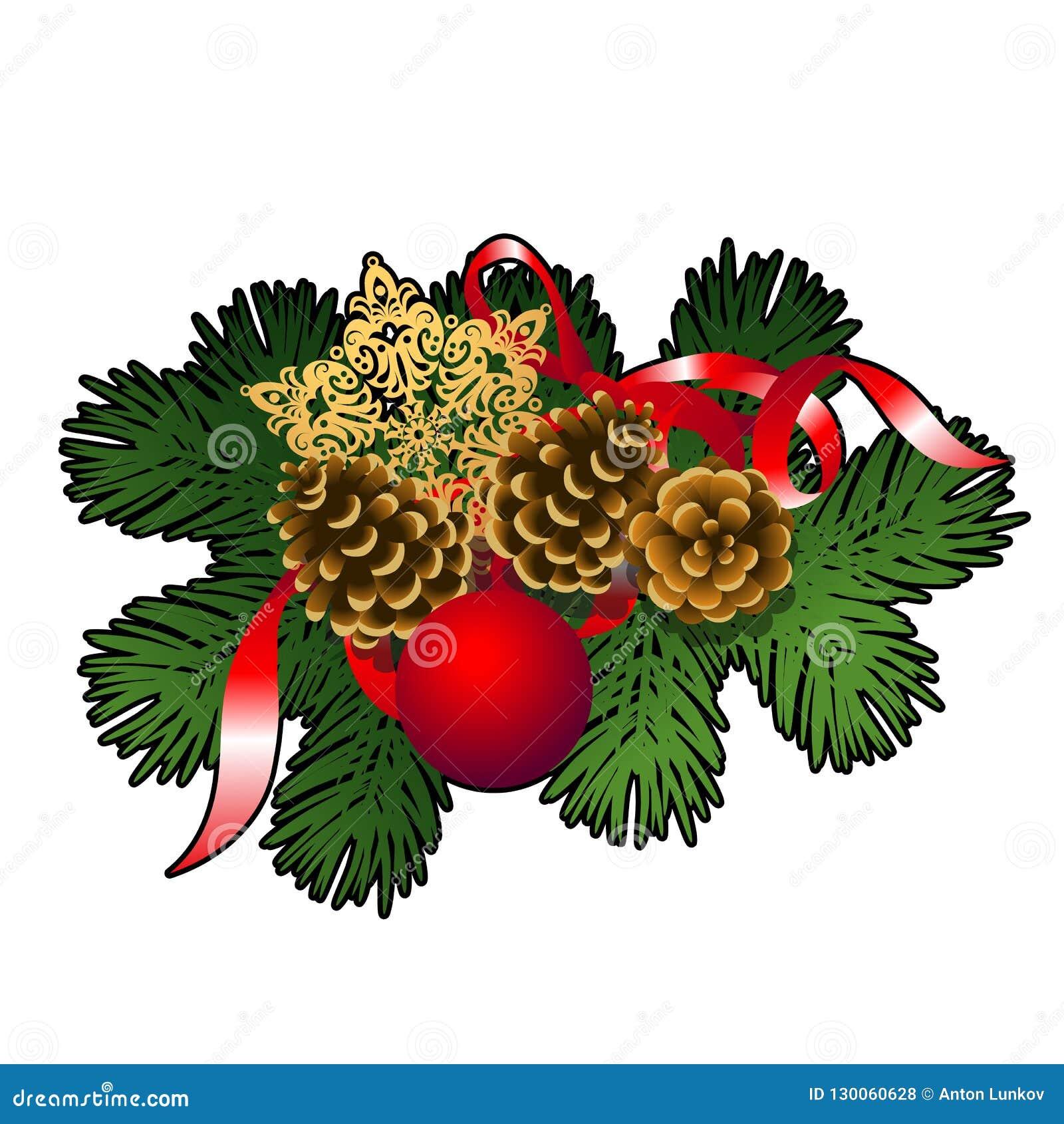 Bosquejo de la Navidad con la decoración de las ramitas del abeto con las bolas decorativas de cristal rojas, las chucherías, el