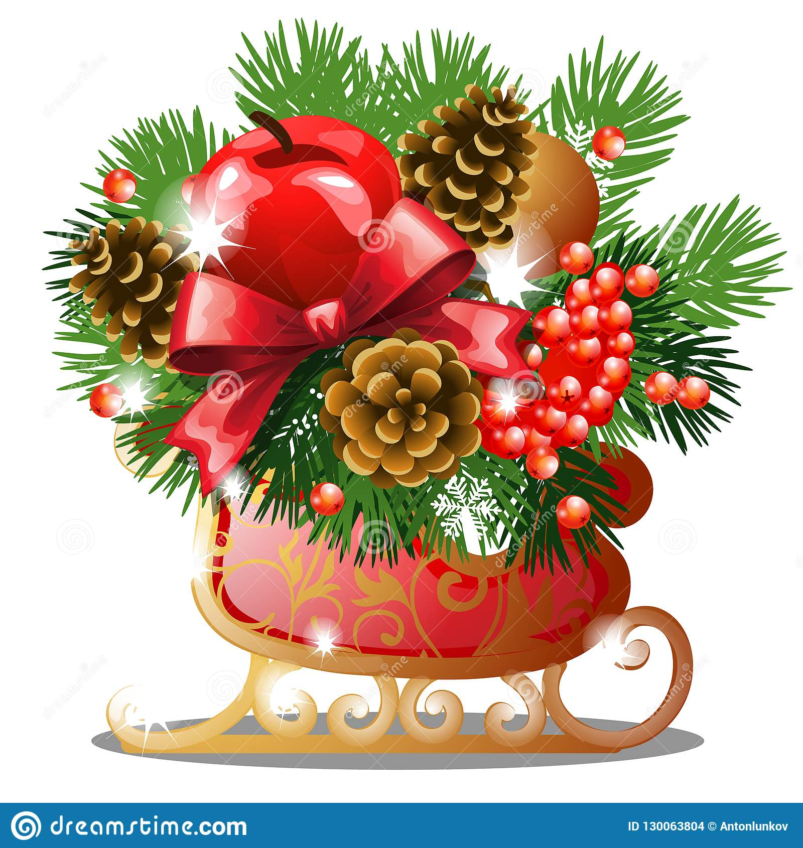Bosquejo de la Navidad con la decoración de los patines de hielo de oro con las ramitas del abeto, el arco rojo de la cinta, las